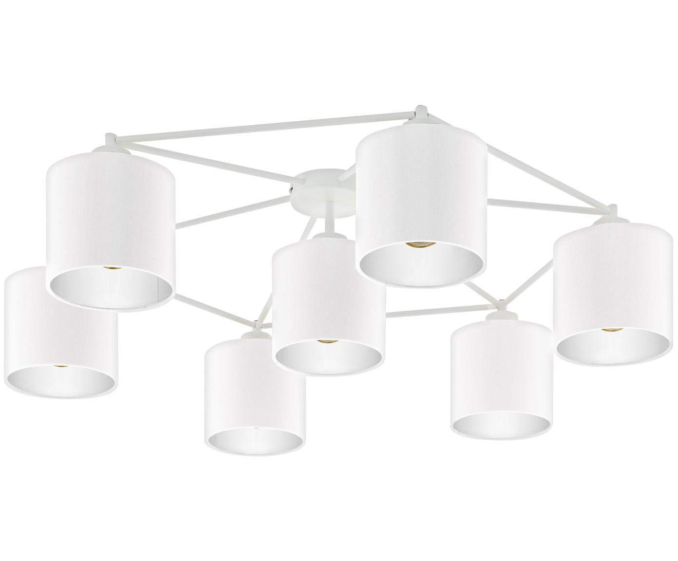 Große Deckenleuchte Staiti in Weiß, Lampenschirm: Polyester, Weiß, Ø 84 x H 24 cm