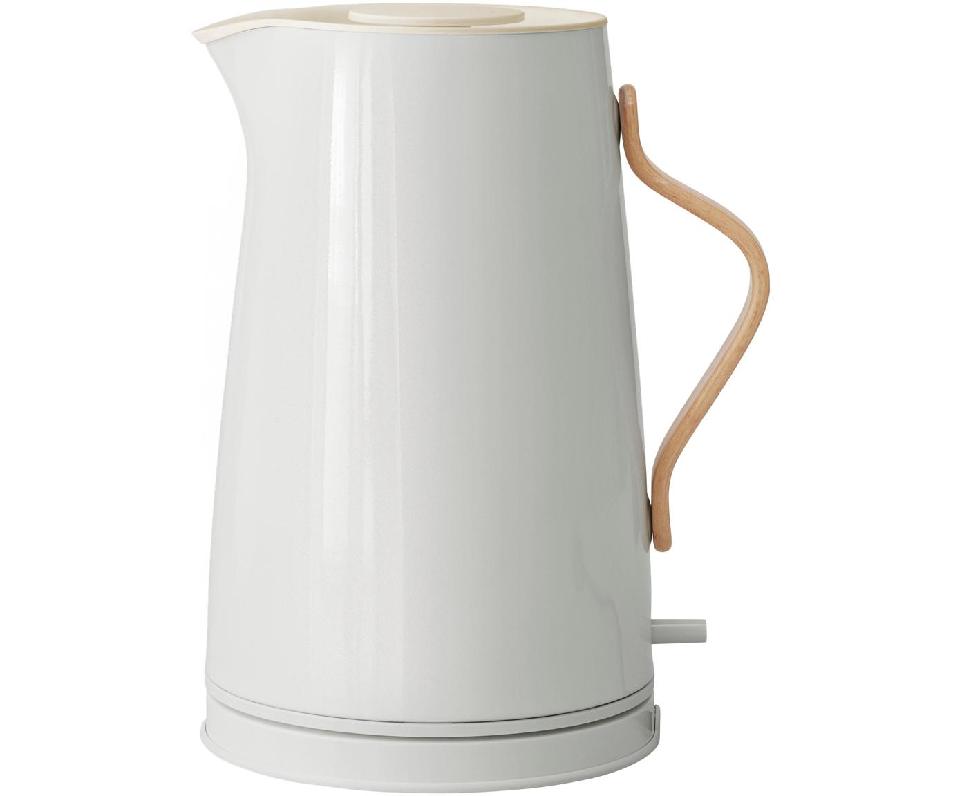 Wasserkocher Emma in Kalkweiss glänzend, Griff: Buchenholz, Kalkweiss, 1.2 L