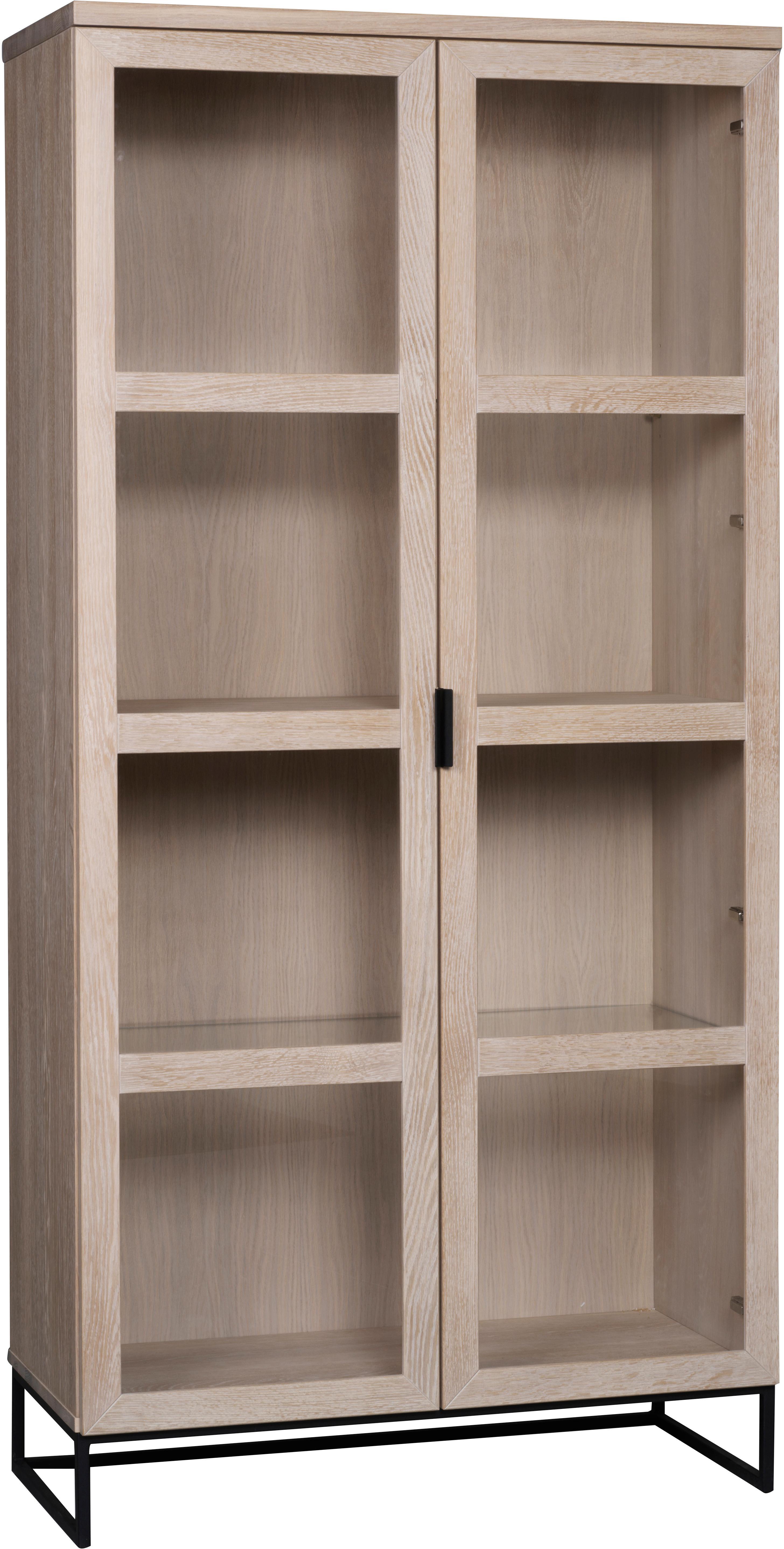 Vetrina alta in legno di quercia Everett, Struttura: metallo laccato, Legno di quercia bianco lavato, Larg. 95 x Alt. 195 cm