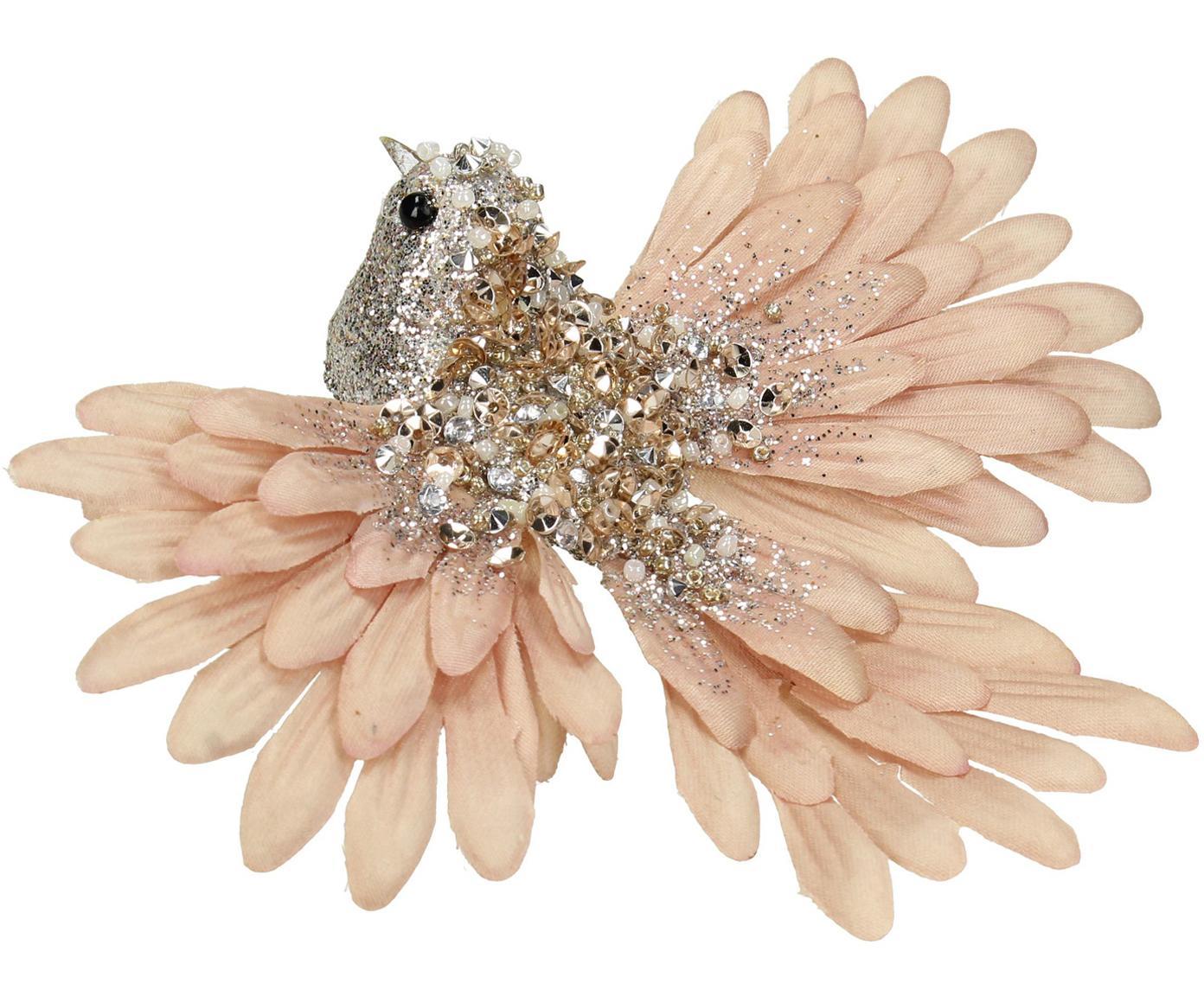 Kerstboomhanger Bird, Polyester, kunststof, Champagnekleurig, lichtroze, 15 x 5 cm