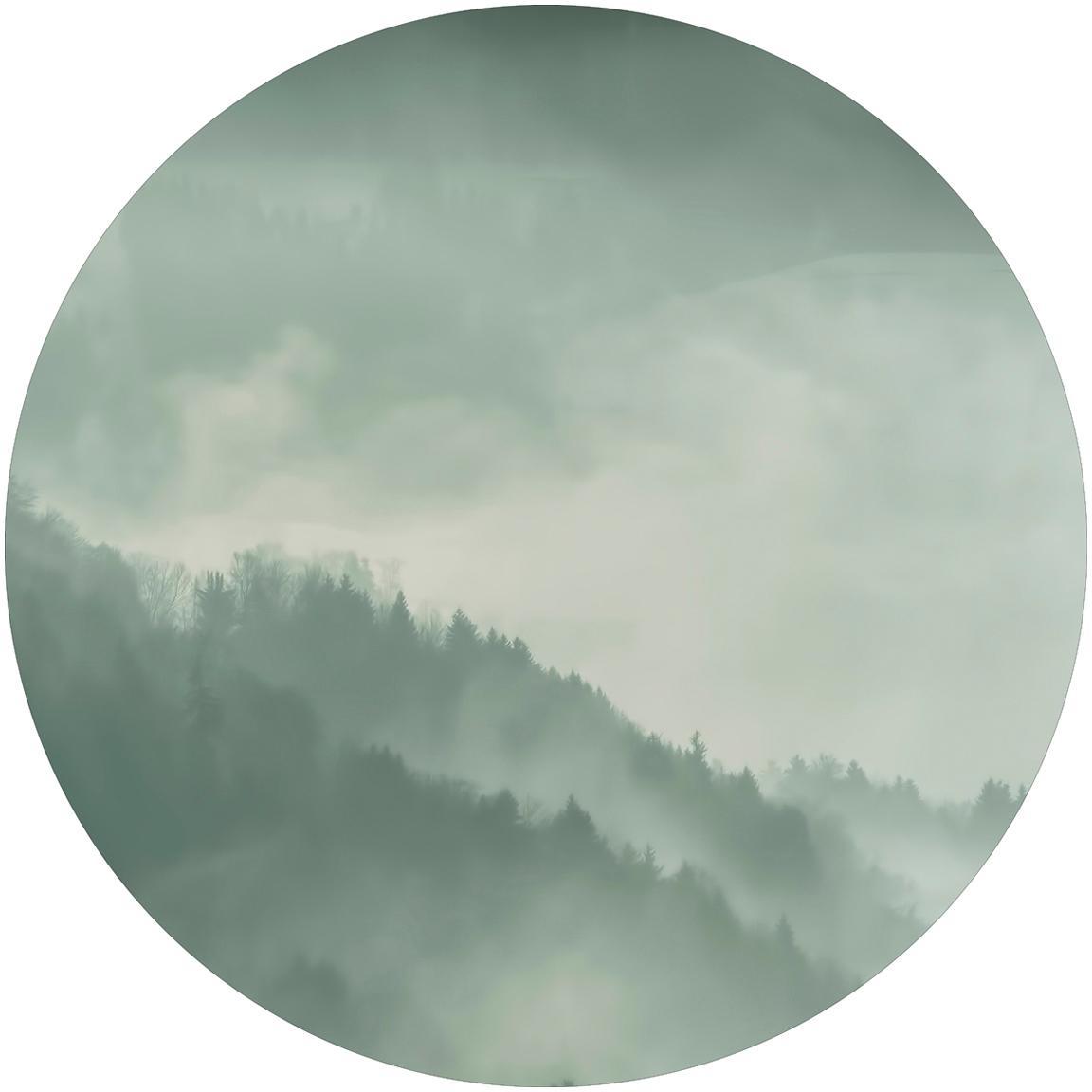 Wandbild Holy Land, rund, Mitteldichte Holzfaserplatte (MDF), bedruckt, Grau, Weiss, Ø 70 cm