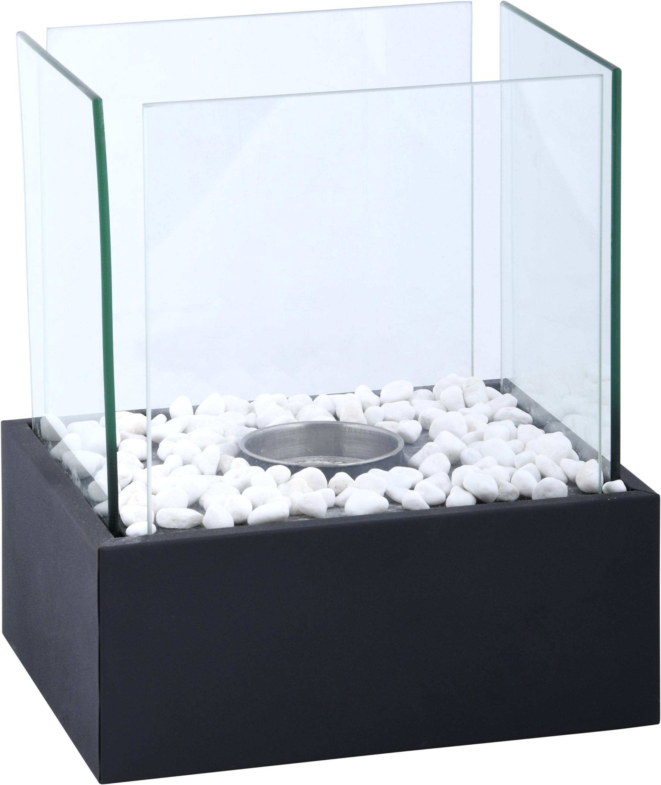 Bioethanolbrander Damin, Voetstuk: gecoat metaal, Zwart, transparant, 25 x 28 cm