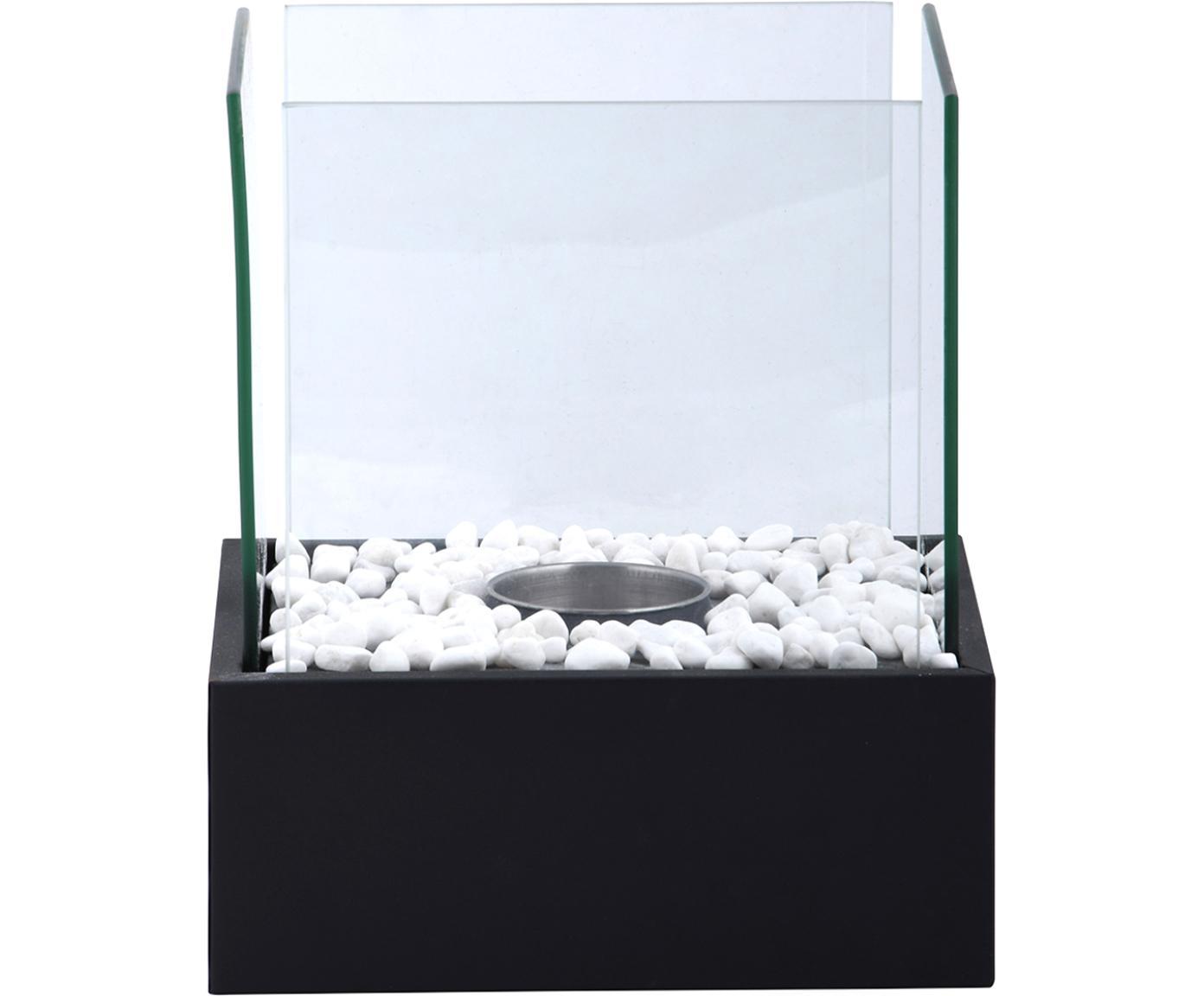 Bio kominek stołowy Damin, Czarny, transparentny, S 25 x W 28 cm