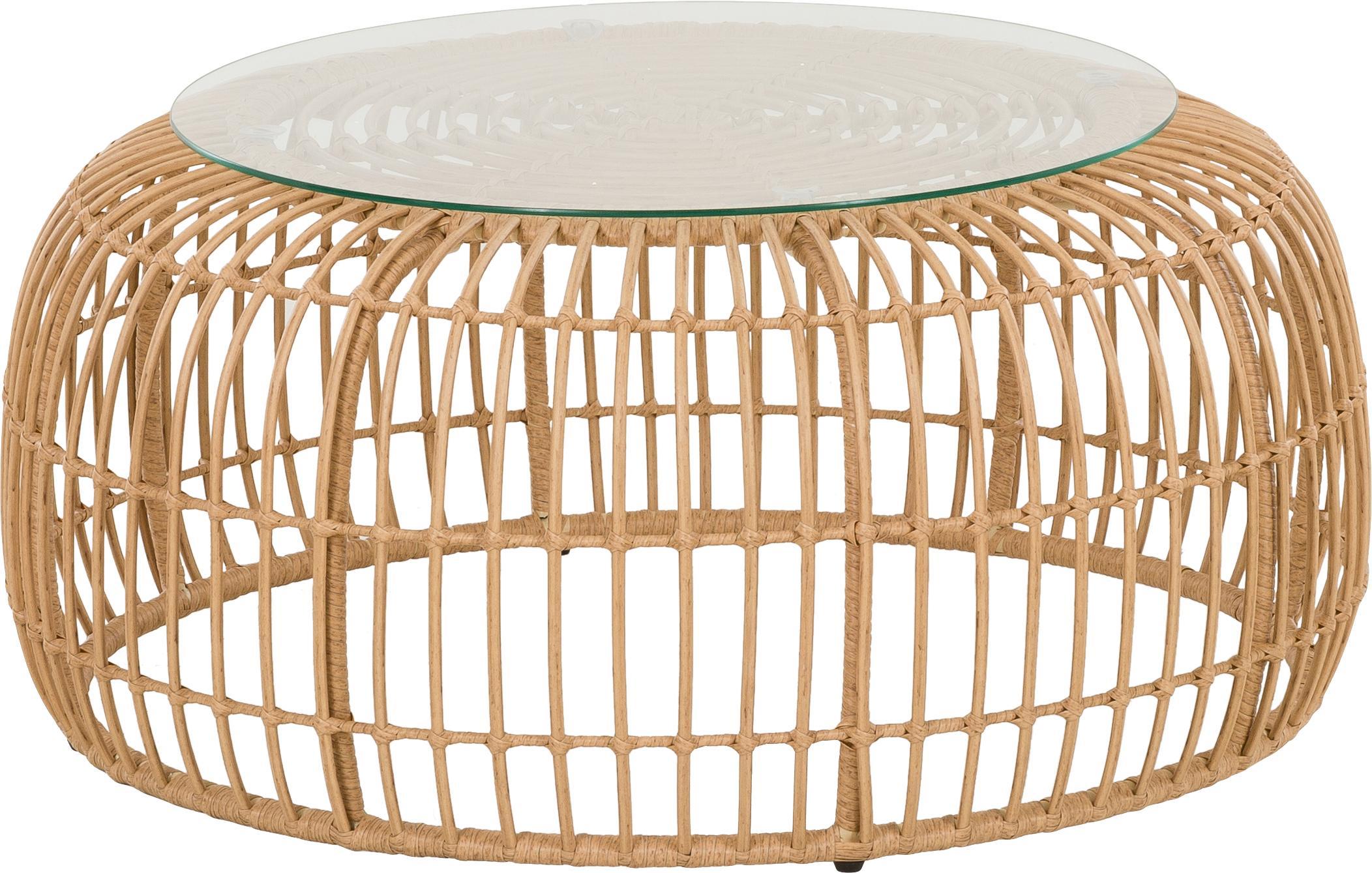 Mesa de centro de exterior de mimbre Costa, Tablero: vidrio, Estructura: trenzado de polietireno, Bayo, Ø 85 x Al 42 cm