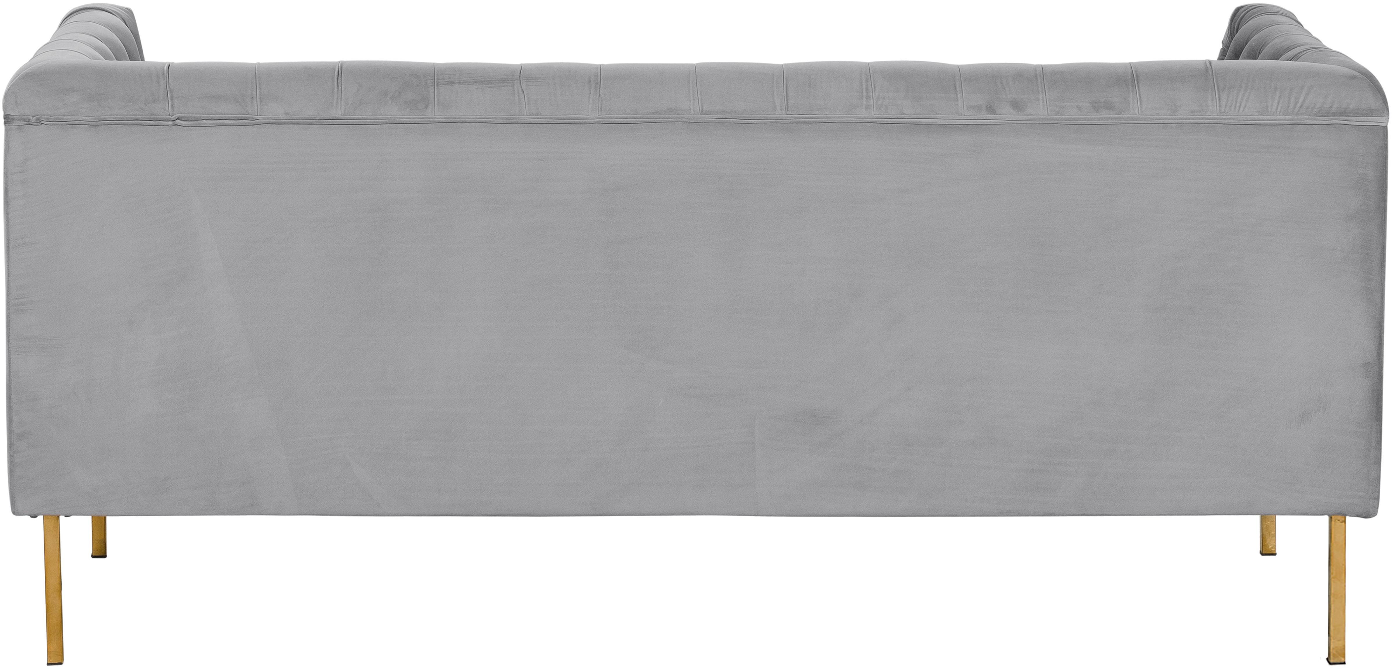 Sofá Chesterfield de terciopelo Chiara (2plazas), Tapizado: terciopelo (poliéster) 20, Estructura: madera de abedul maciza, Patas: metal galvanizado, Gris, An 170 x F 72 cm