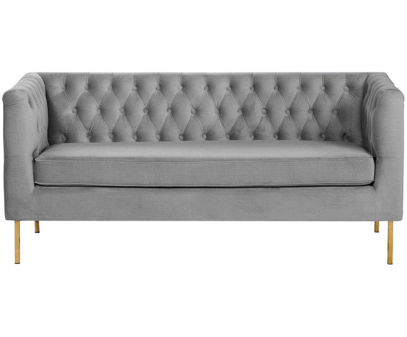 Fluwelen Chesterfield bank Chiara (2-zits), Bekleding: fluweel (polyester), Frame: massief berkenhout, Poten: gegalvaniseerd metaal, Grijs, B 170 x D 72 cm