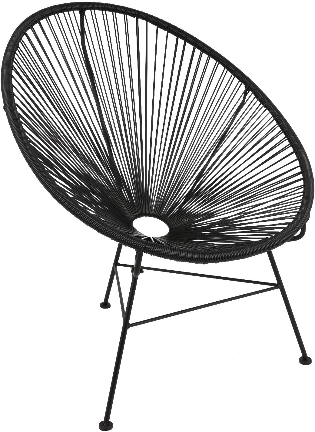 Sedia a poltrona intrecciata Bahia, Seduta: materiale sintetico, Struttura: metallo verniciato a polv, Materiale sintetico: nero. Struttura: nero, Larg. 81 x Prof. 73 cm