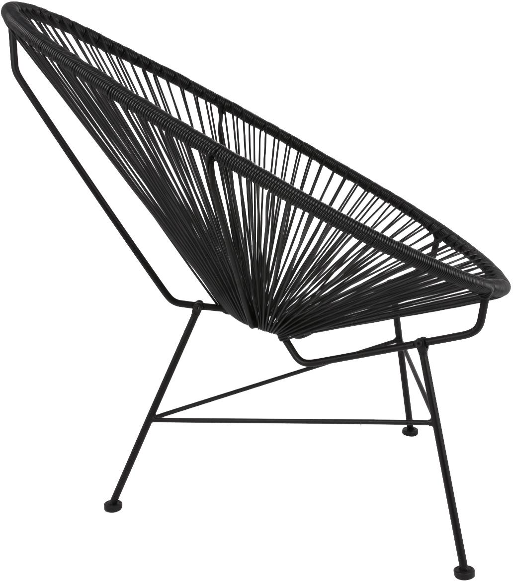 Loungesessel Bahia aus Kunststoff-Geflecht, Sitzfläche: Kunststoff, Gestell: Metall, pulverbeschichtet, Kunststoff: Schwarz. Gestell: Schwarz, B 81 x T 73 cm