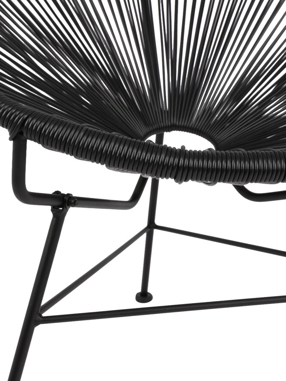 Fauteuil acapulco plastique tressé Bahia, Plastique: noir Structure: noir