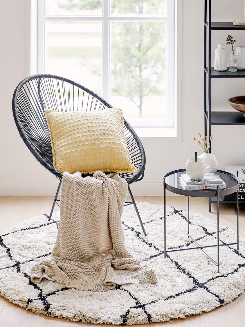 Fotel wypoczynkowy Bahia, Stelaż: metal malowany proszkowo, Tworzywo sztuczne: czarny Stelaż: czarny, S 81 x G 73 cm