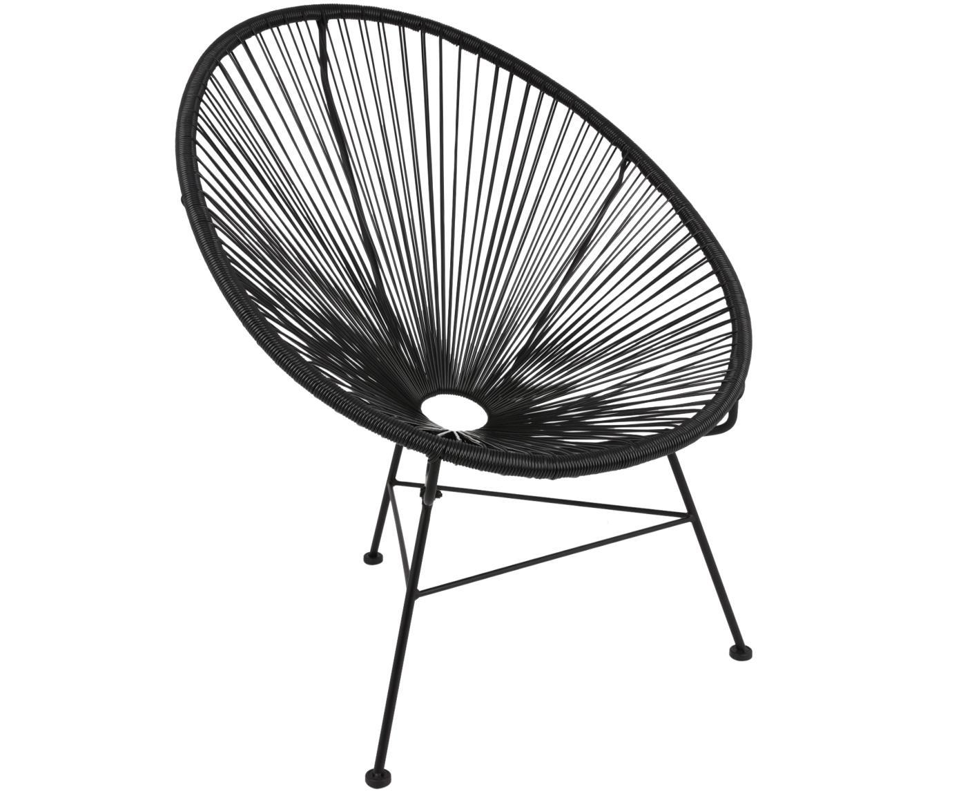 Sillón Bahia, Asiento: plástico, Estructura: metal con pintura en polv, Plástico: negro Estructura: negro, An 81 x F 73 cm