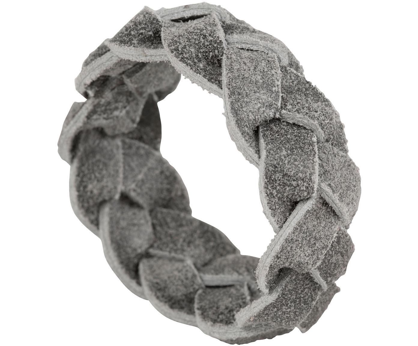Leder-Serviettenringe Tannri, 6 Stück, Büffelleder, Grau, Ø 5 cm