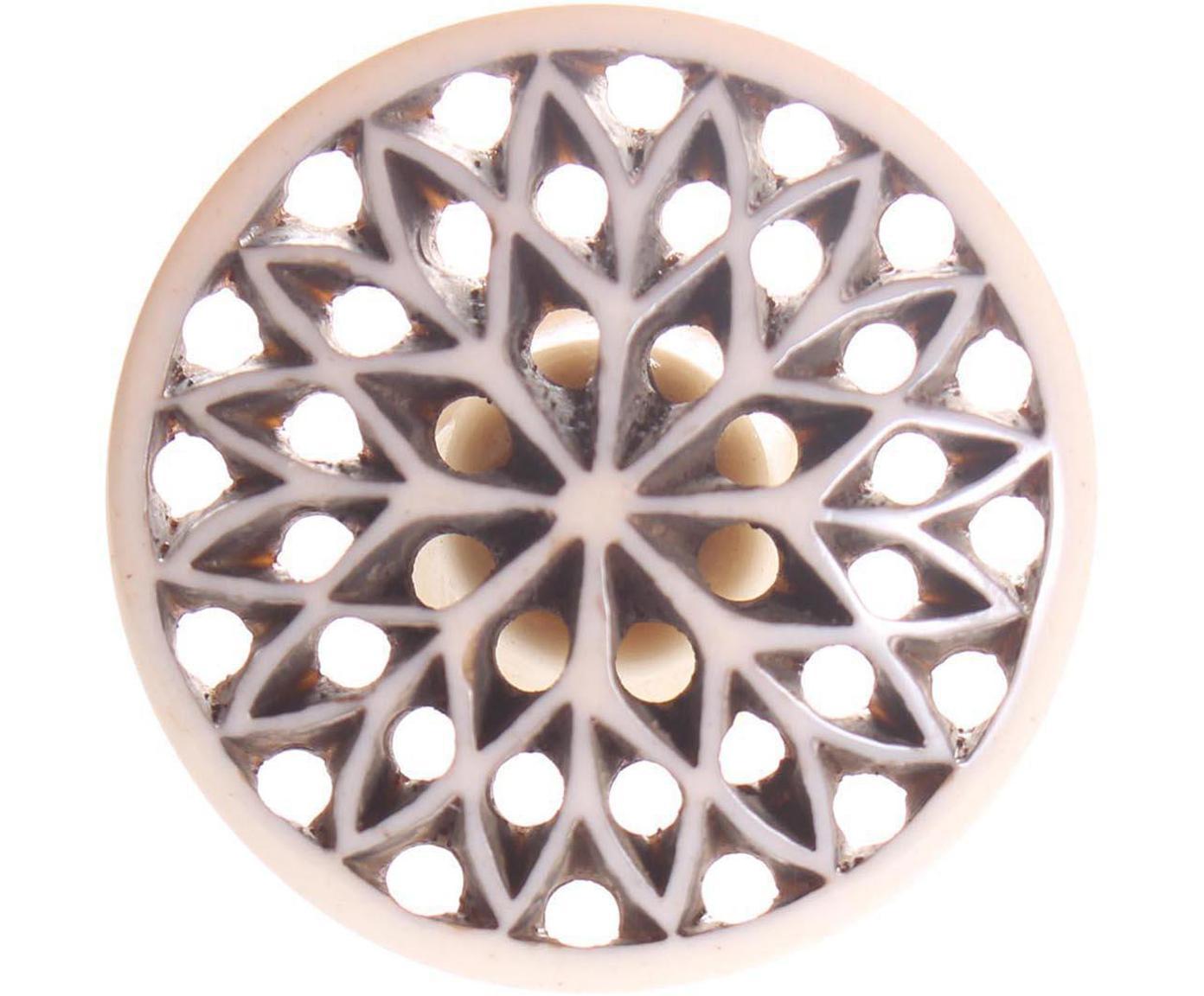 Tirador Diamond, Cerámica, metal, Beige, Ø 4 cm
