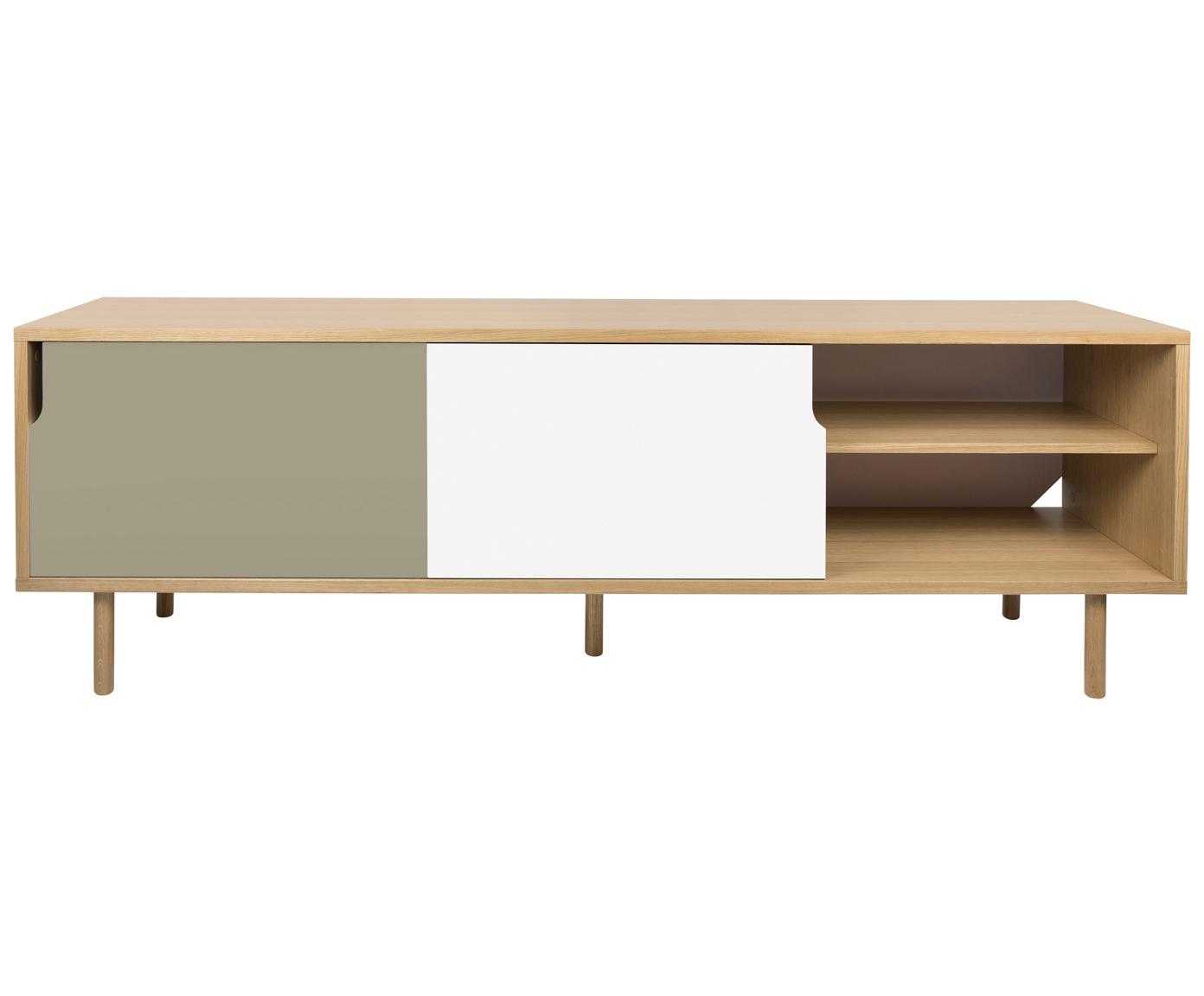 Sideboard Danny mit Schiebetüren, Oberfläche: Eichenechtholzfurnier, Korpus: Wabenkern Panel, Beine: Eichenholz, massiv, Eichenholz, Weiß, Grau, matt, 201 x 65 cm