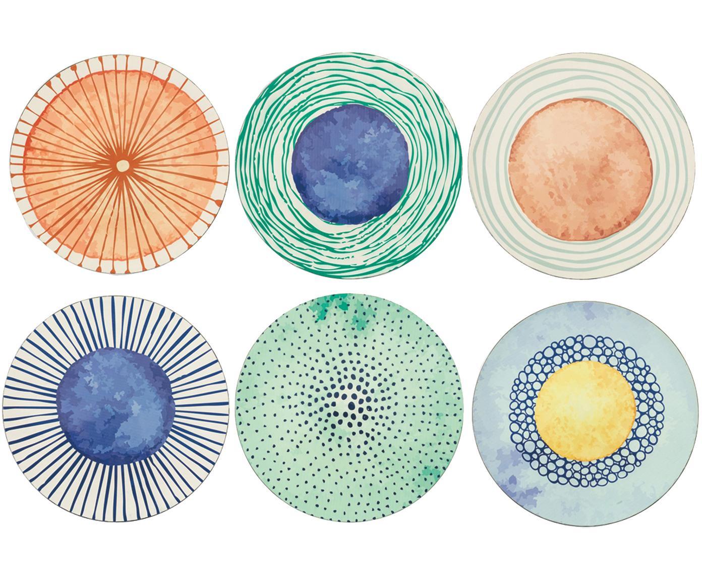 Komplet podkładek Marea, 6 elem., Tworzywo sztuczne, Niebieski, biały, żółty, zielony, pomarańczowy, Ø 33 cm