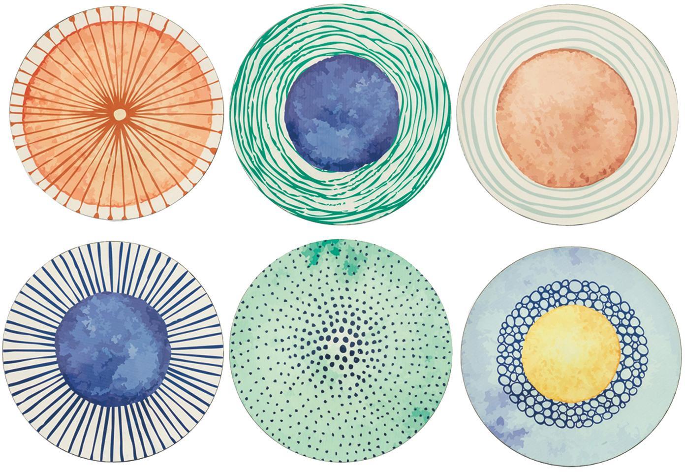 Set 6 sottopiatti con disegni diversi Marea, Materiale sintetico, Blu, bianco, giallo, verde, arancione, Ø 33 cm