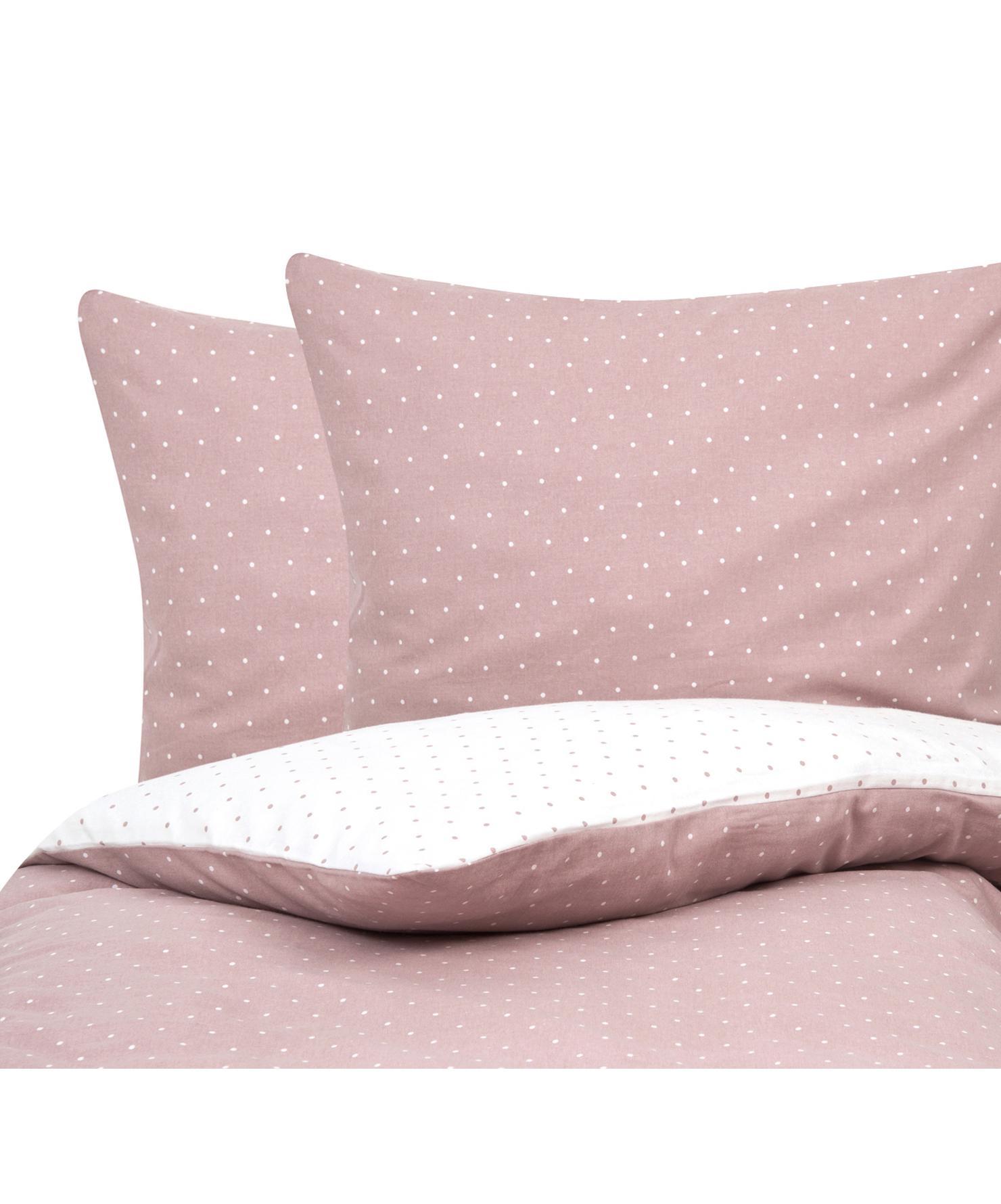 Flanell-Wendebettwäsche Betty, gepunktet, Webart: Flanell Flanell ist ein s, Altrosa, Weiß, 240 x 220 cm + 2 Kissen 80 x 80 cm