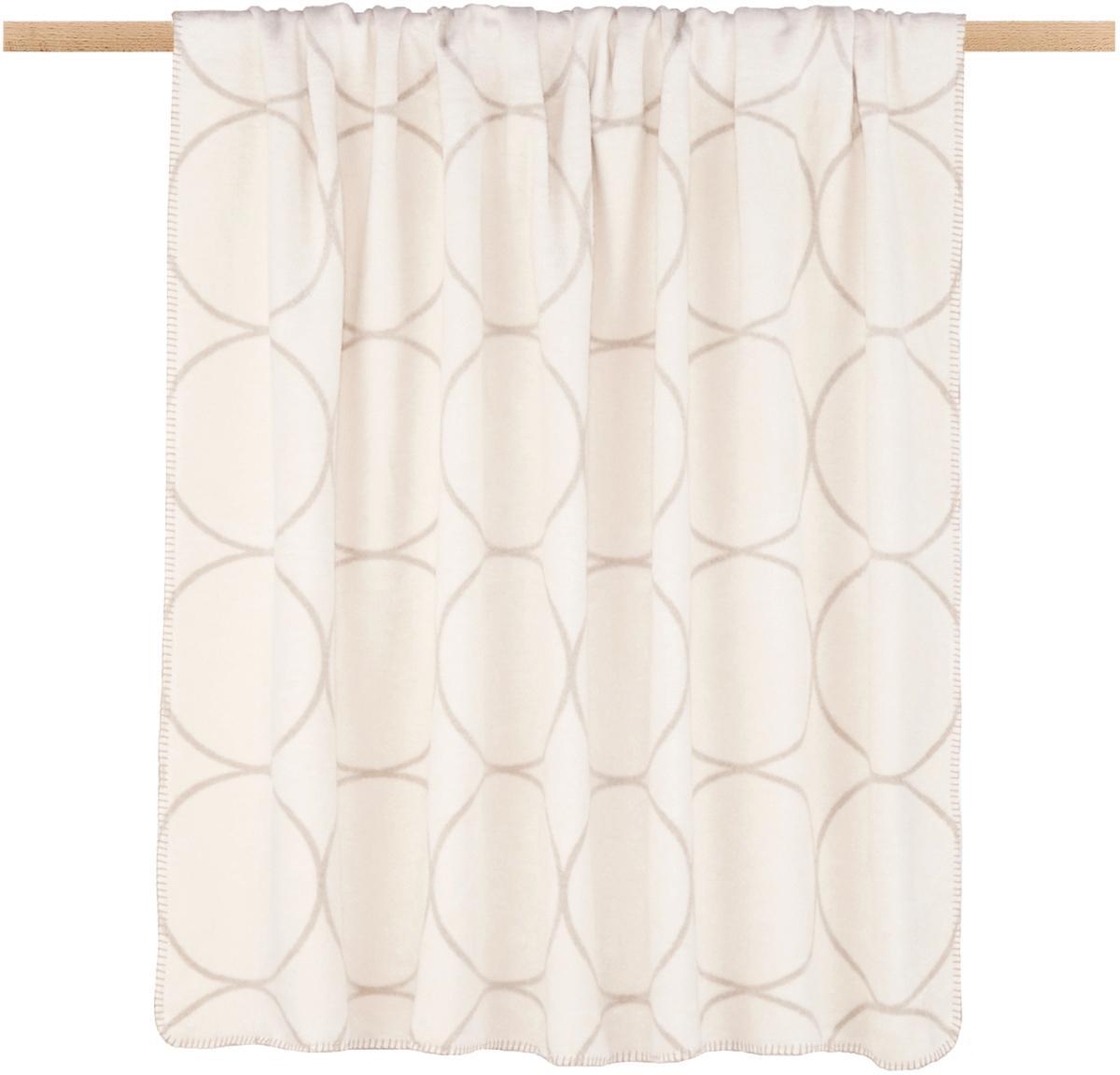 Plaid reversibile in velour Bamboo Circles, Tessuto: Jacquard, Toni beige, P 150 x L 200 cm