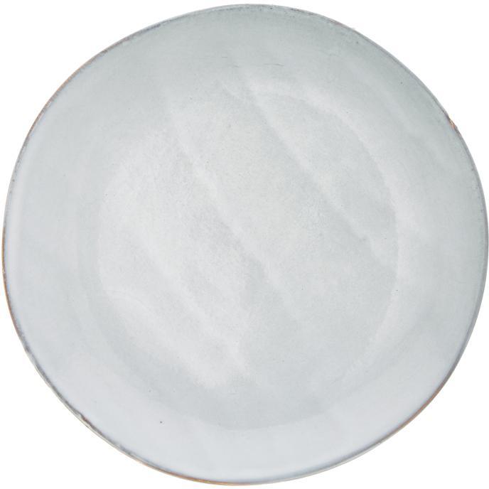 Platos postre artesanales Thalia, 2uds., Cerámica, Gris con borde oscuro, Ø 22 cm