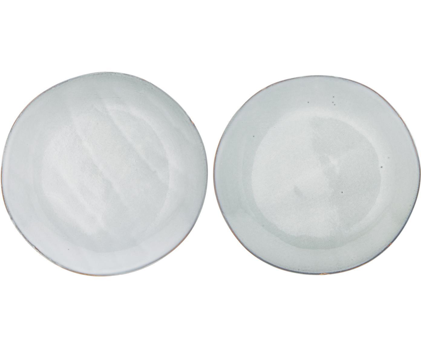 Handgemaakte ontbijtborden Thalia, 2 stuks, Keramiek, Grijs met donkere rand, Ø 22 cm