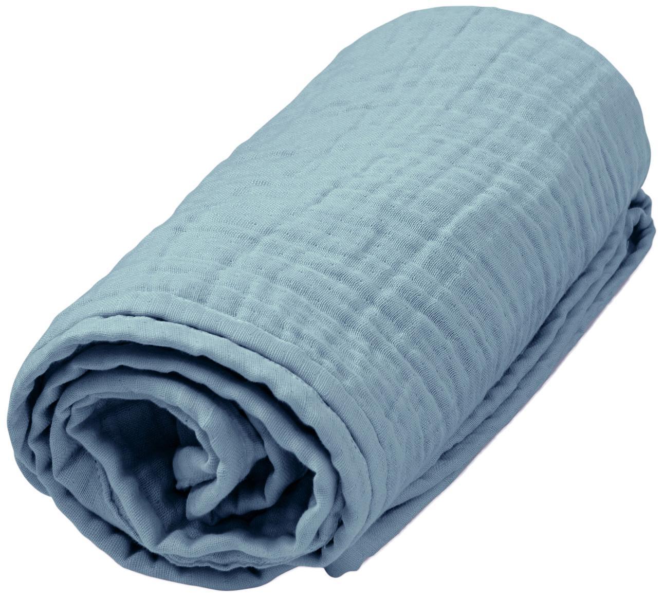 Pled muślinowy z bawełny organicznej Sensitive, Bawełna organiczna, certyfikat GOTS, Niebieski, S 100 x D 100 cm