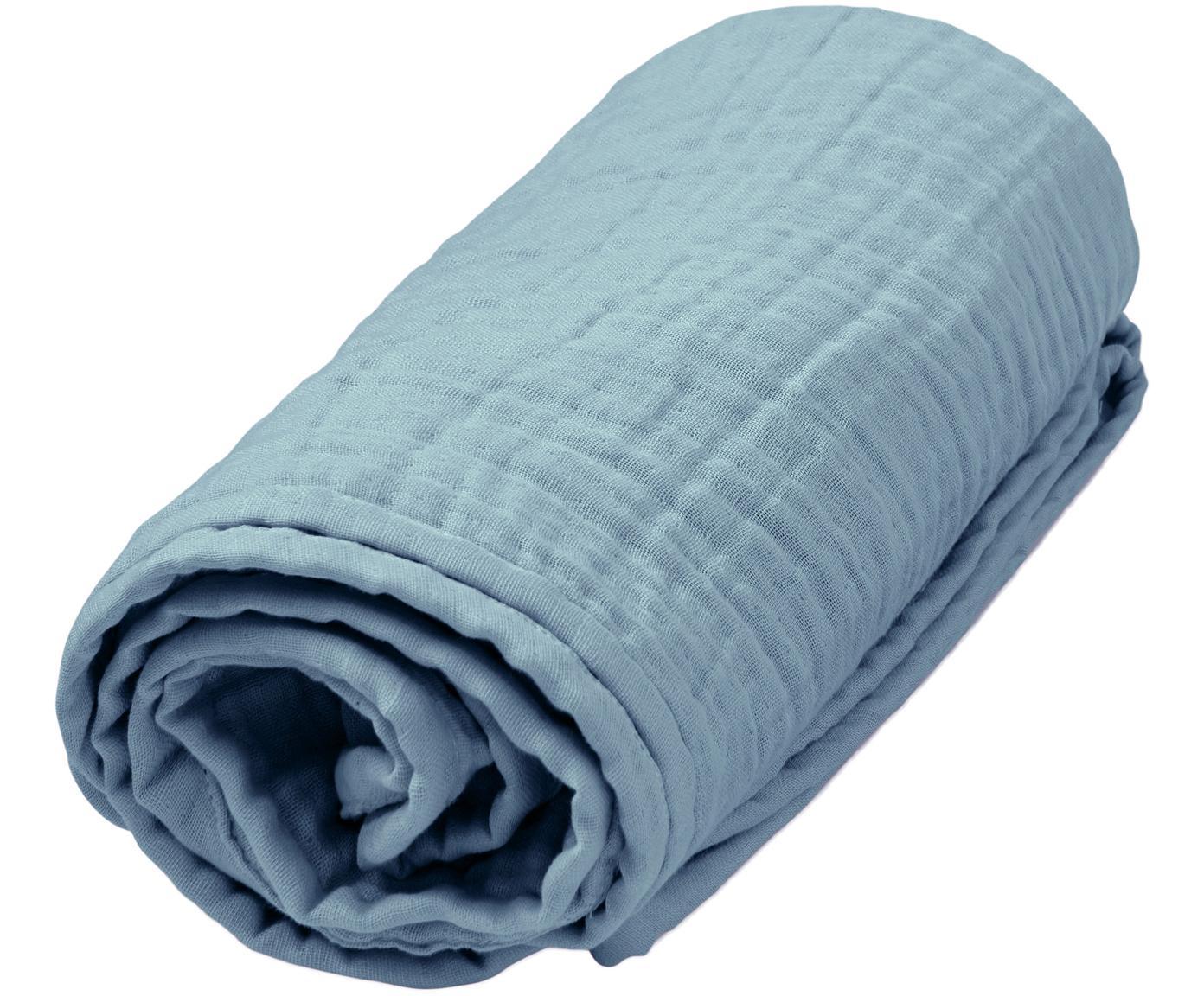 Manta de muselina Sensitive, Algodón orgánico, Azul, An 100 x L 100 cm
