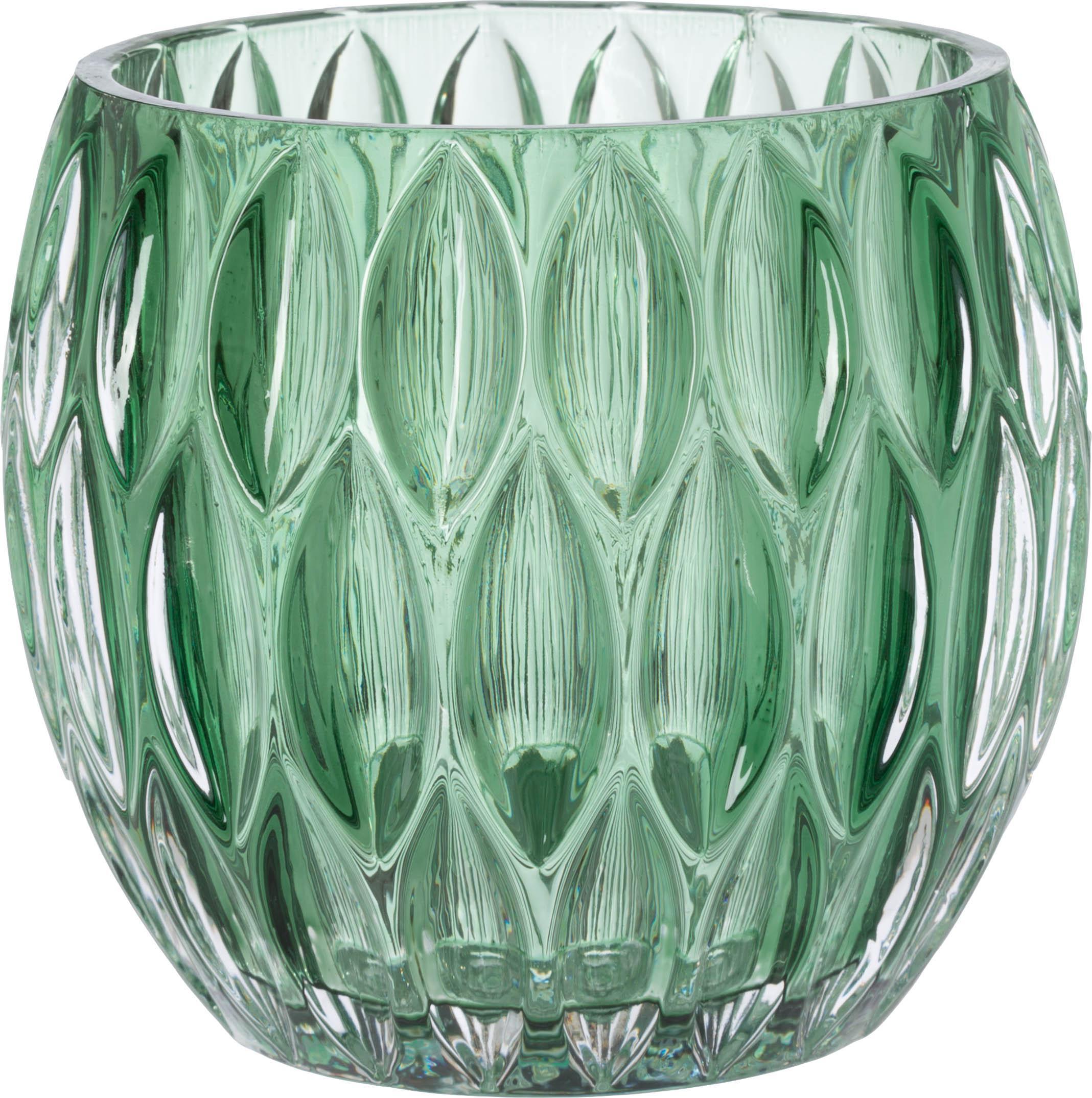 Set de portavelas Aliza, 3pzas., Vidrio, Tonos verdes, transparente, Ø 10 x Al 9 cm