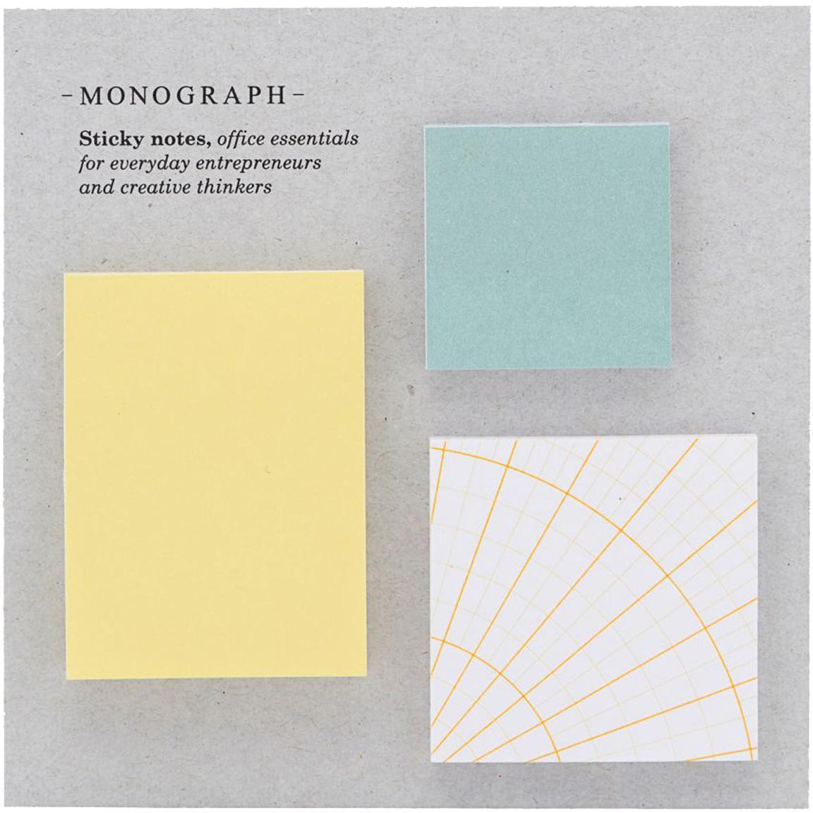 Haftnotiz-Block-Set Toffi, 3-tlg., Papier, Mehrfarbig, Set mit verschiedenen Grössen