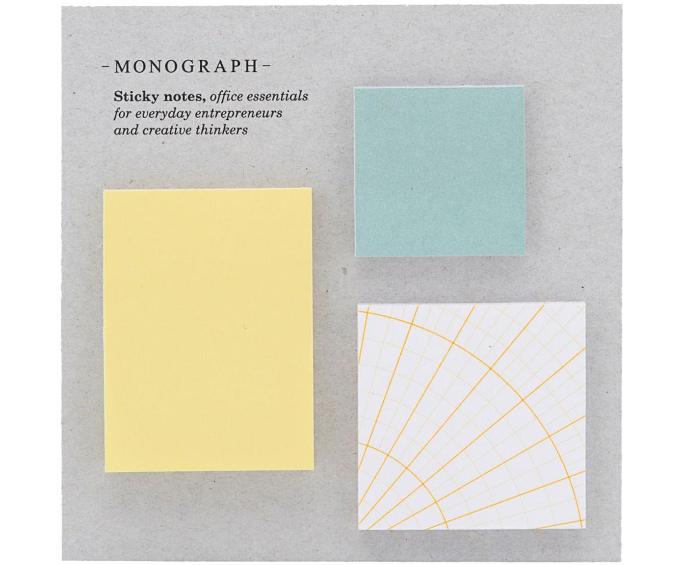 Haftnotiz-Block-Set Toffi, 3-tlg., Papier, Mehrfarbig, Sondergrößen