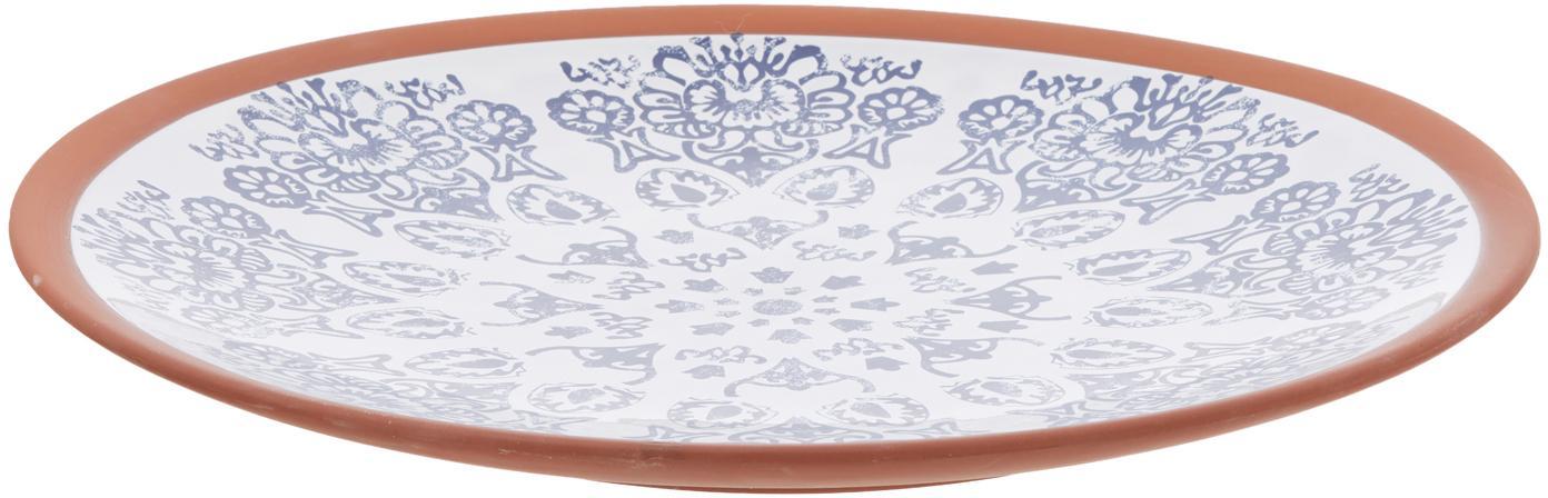 Handgemachte Servierplatte Tapas, Terrakotta, Blau, Weiss, Braun, Ø 37 x H 6 cm