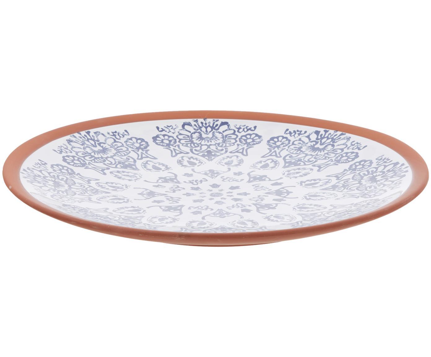 Handgefertigte Servierplatte Tapas, Terrakotta, Blau, Weiss, Braun, Ø 37 x H 6 cm