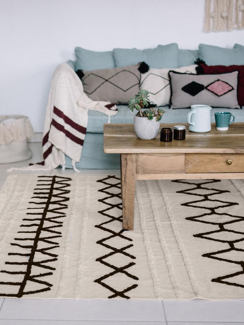 Teppich Berber, Flor: 60% Baumwolle, 40% recyce, Beige, Schwarz, B 170 x L 240 cm (Größe M)