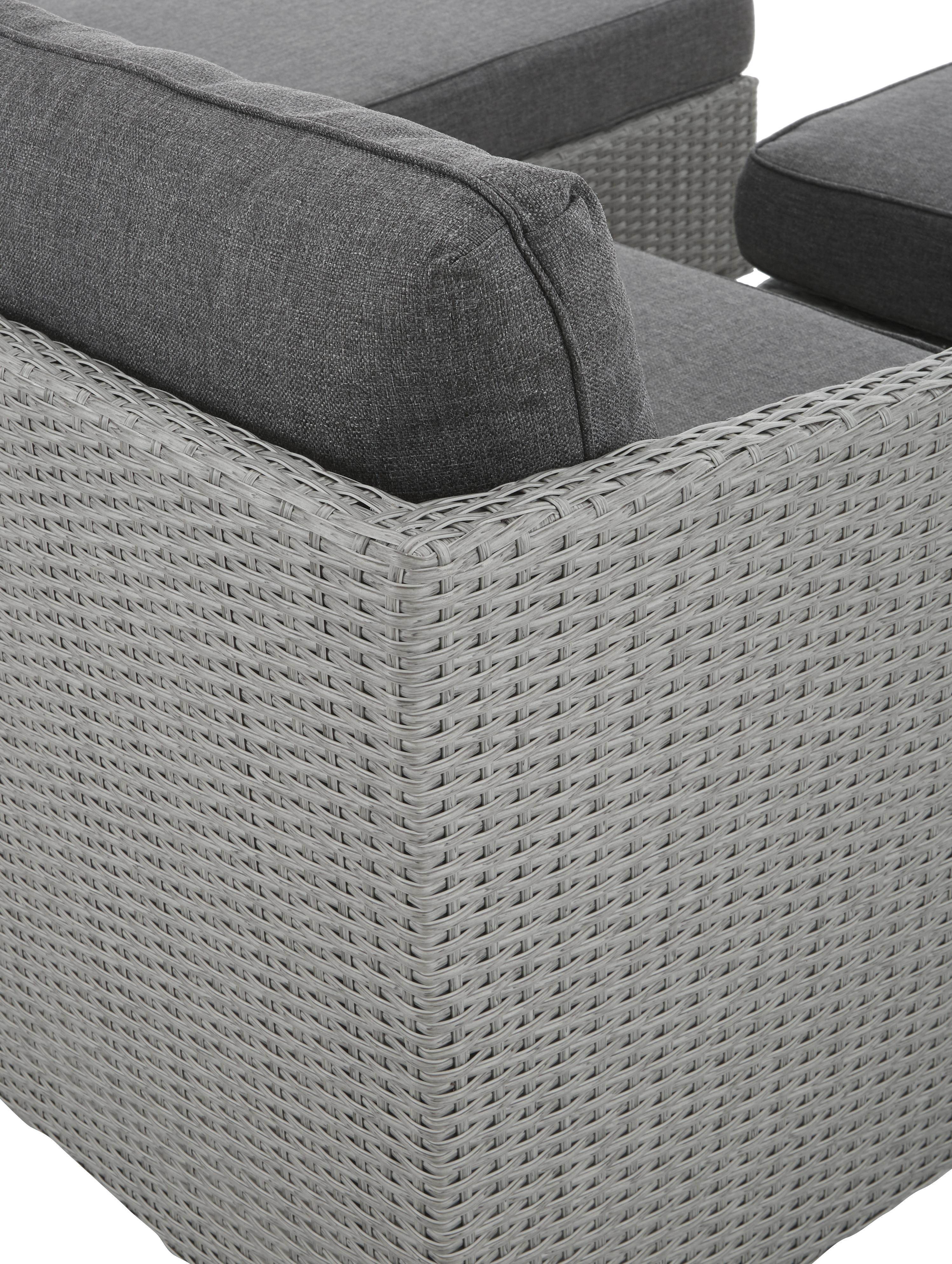 Loungeset Conmay, 3-delig, Frame: aluminium, kunstrotan, Bekleding: Olefin, Tafelblad: glas, Frame: grijs. Bekleding: donkergrijs. Tafelblad: transparant, Set met verschillende formaten