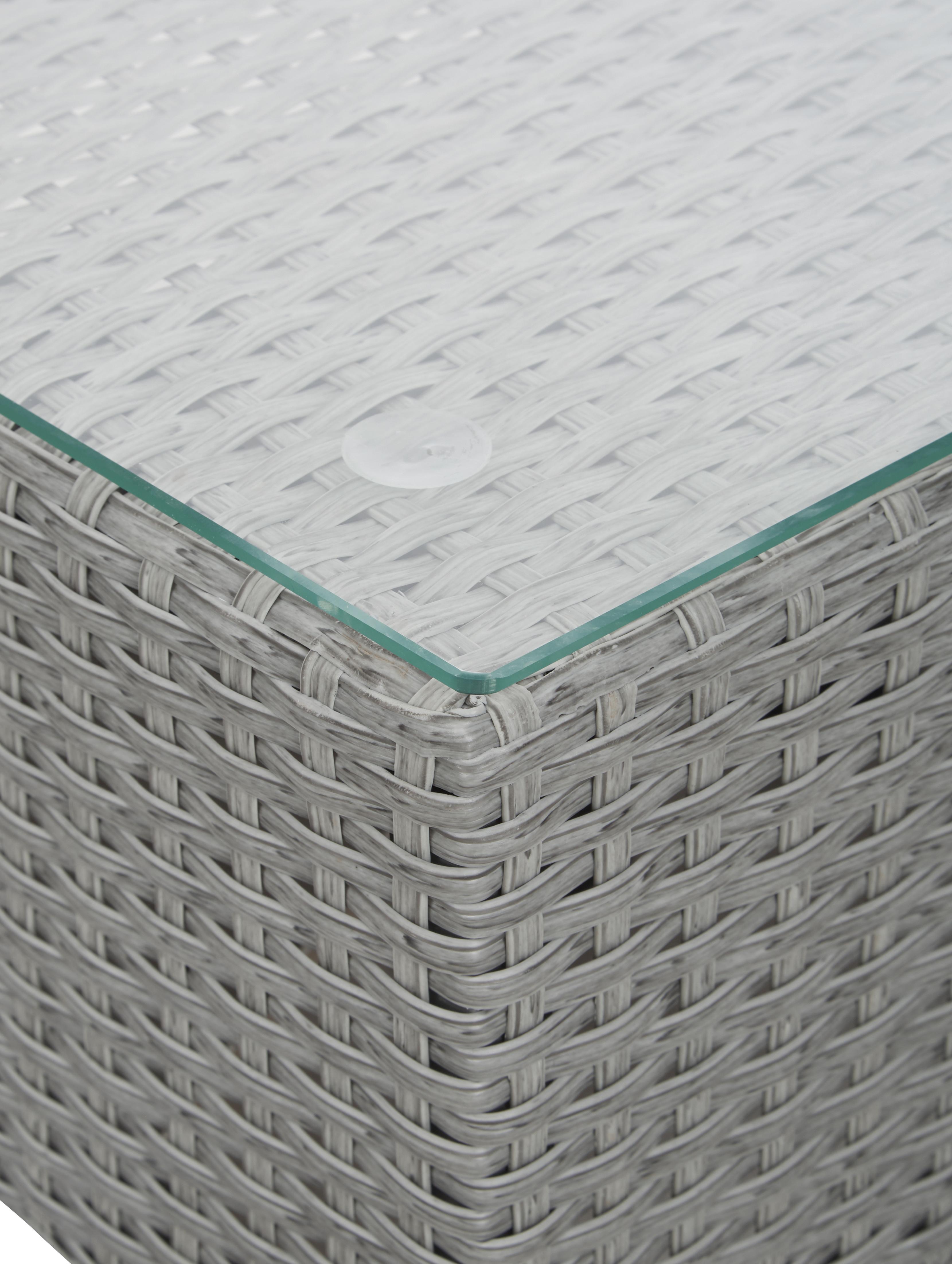 Salotto da giardino Conmay 3 pz, Struttura: alluminio, rattan sinteti, Piano d'appoggio: vetro, Struttura: grigio Rivestimento: grigio scuro Piano d'appoggio: trasparente, Diverse dimensioni