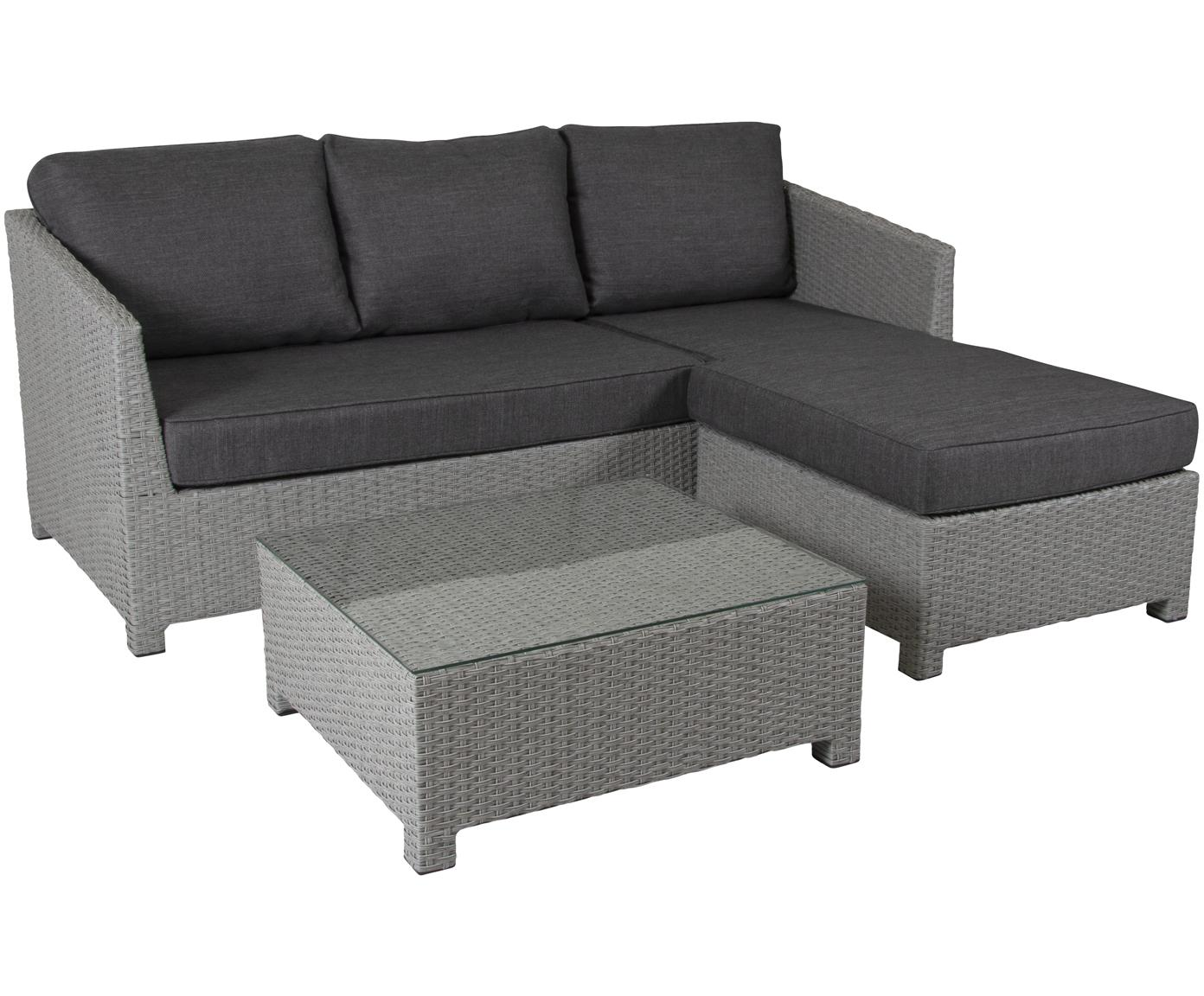 Set lounge de exterior Conmay, 3pzas., Estructura: aluminio, ratán sintético, Tapizado: olefina, Tablero: vidrio, Gris, gris oscuro, transparente, Tamaños diferentes