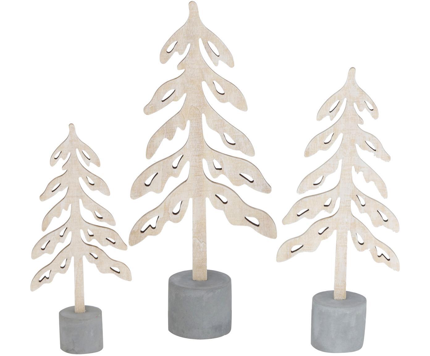 Set de piezas decorativas Mattern, 3pzas., Hormigón, madera contrachapada, Gris cemento, bayo, Set de diferentes tamaños