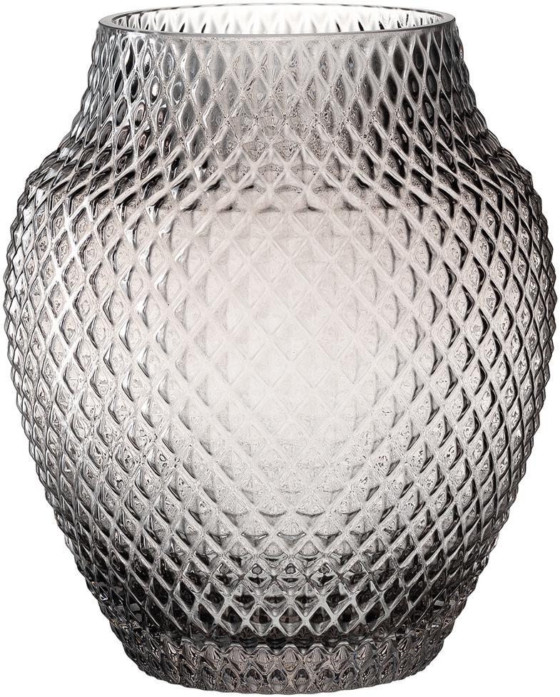 Ręcznie wykonany wazon ze szkła Poesia, Szklanka, Szary, Ø 19 x W 23 cm