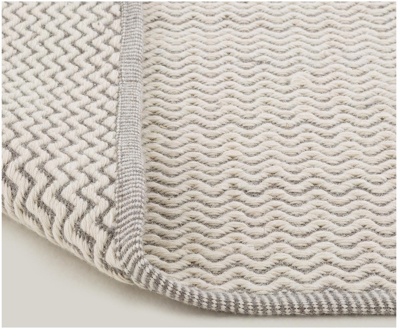 Tappeto in lana tessuto a mano Corsa, Crema, grigio chiaro, Larg. 140 x Lung. 200 cm (taglia S)
