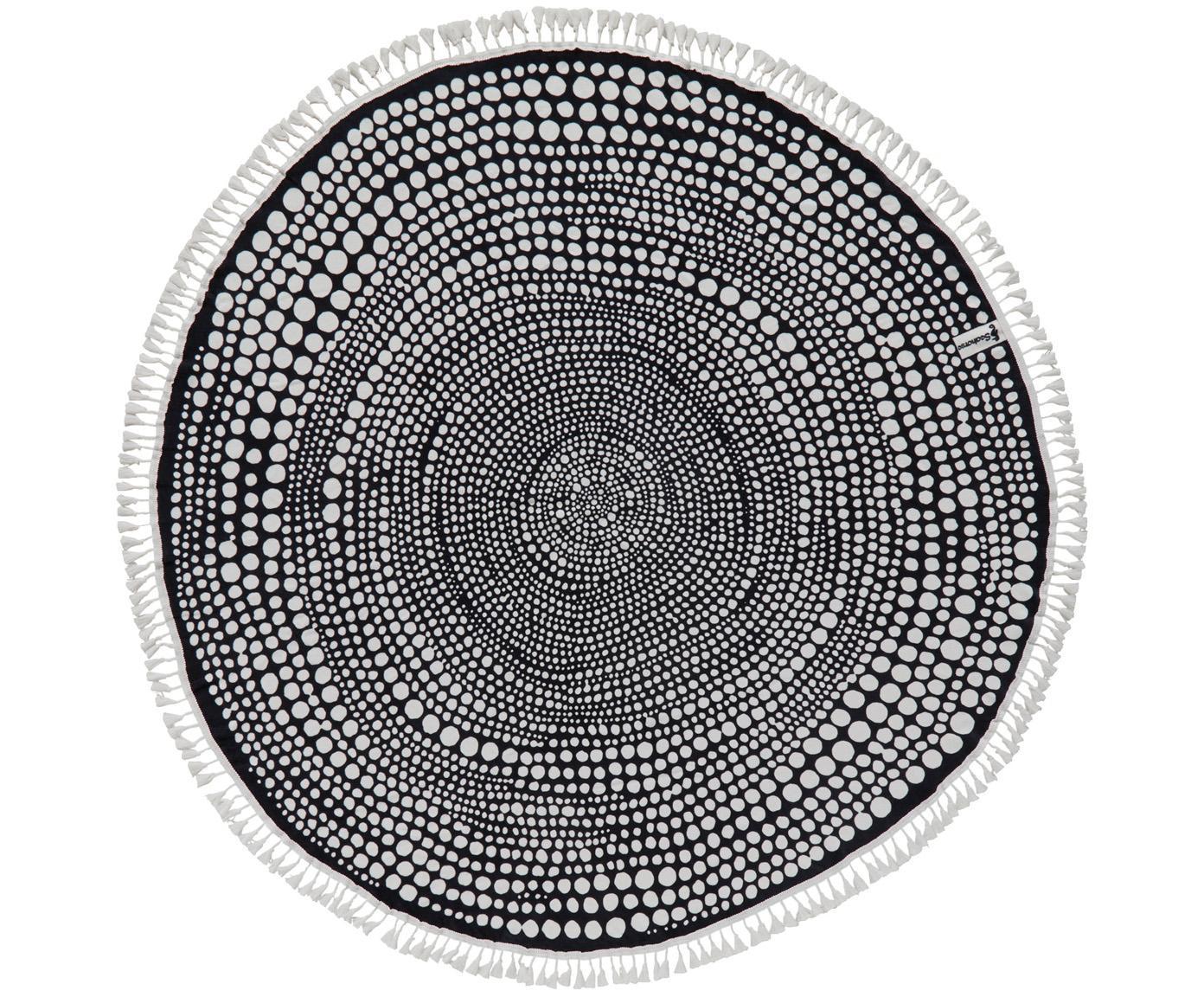 Rundes Strandtuch Kivi, Vorderseite: 100% Velour (Baumwolle), Rückseite: Frottee (Baumwolle) Mitte, Anthrazit, Weiß, Ø 150 cm