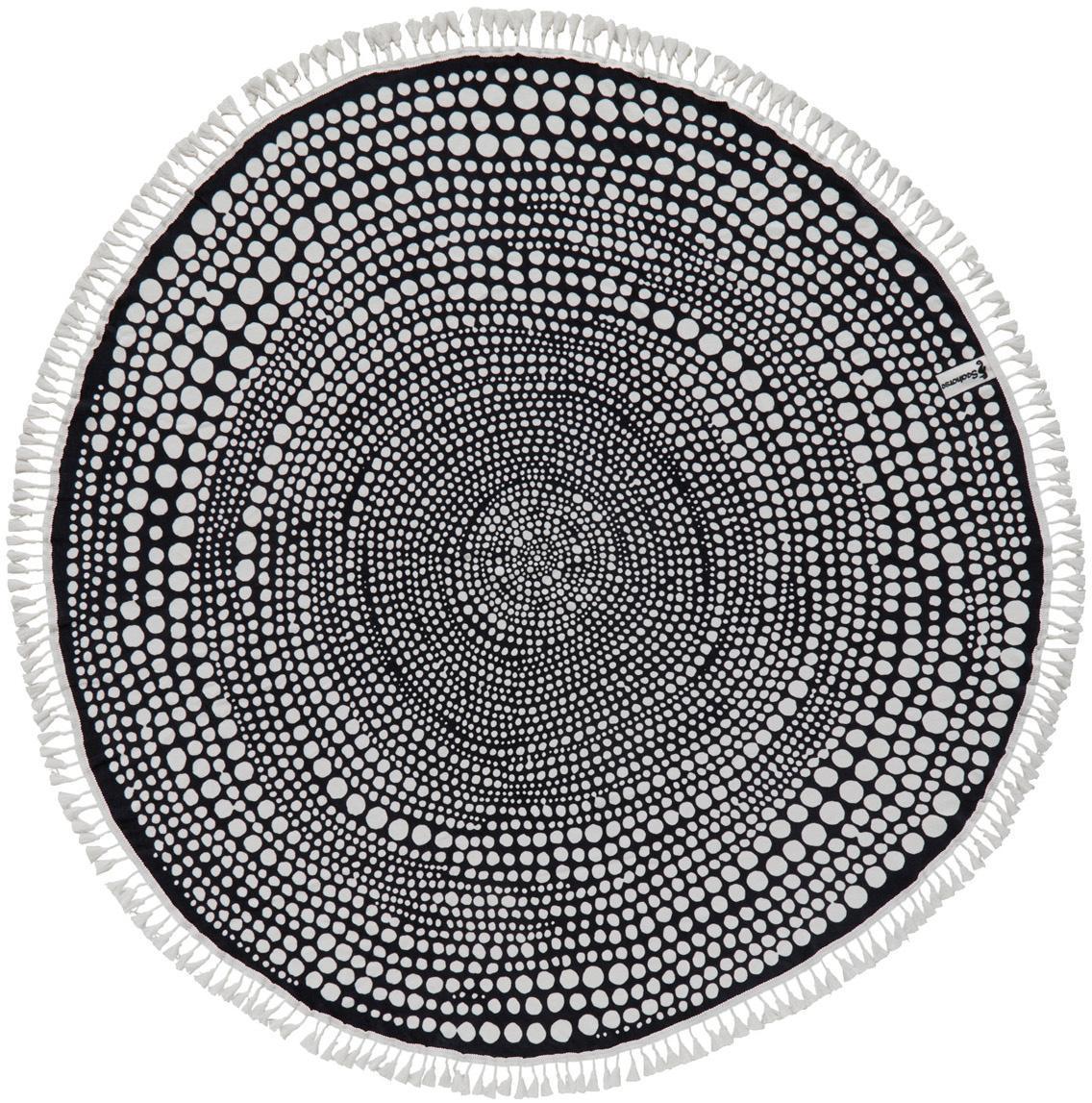 Rundes Strandtuch Kivi, Vorderseite: 100% Velour (Baumwolle), Rückseite: Frottee (Baumwolle) Mitte, Anthrazit, Weiss, Ø 150 cm