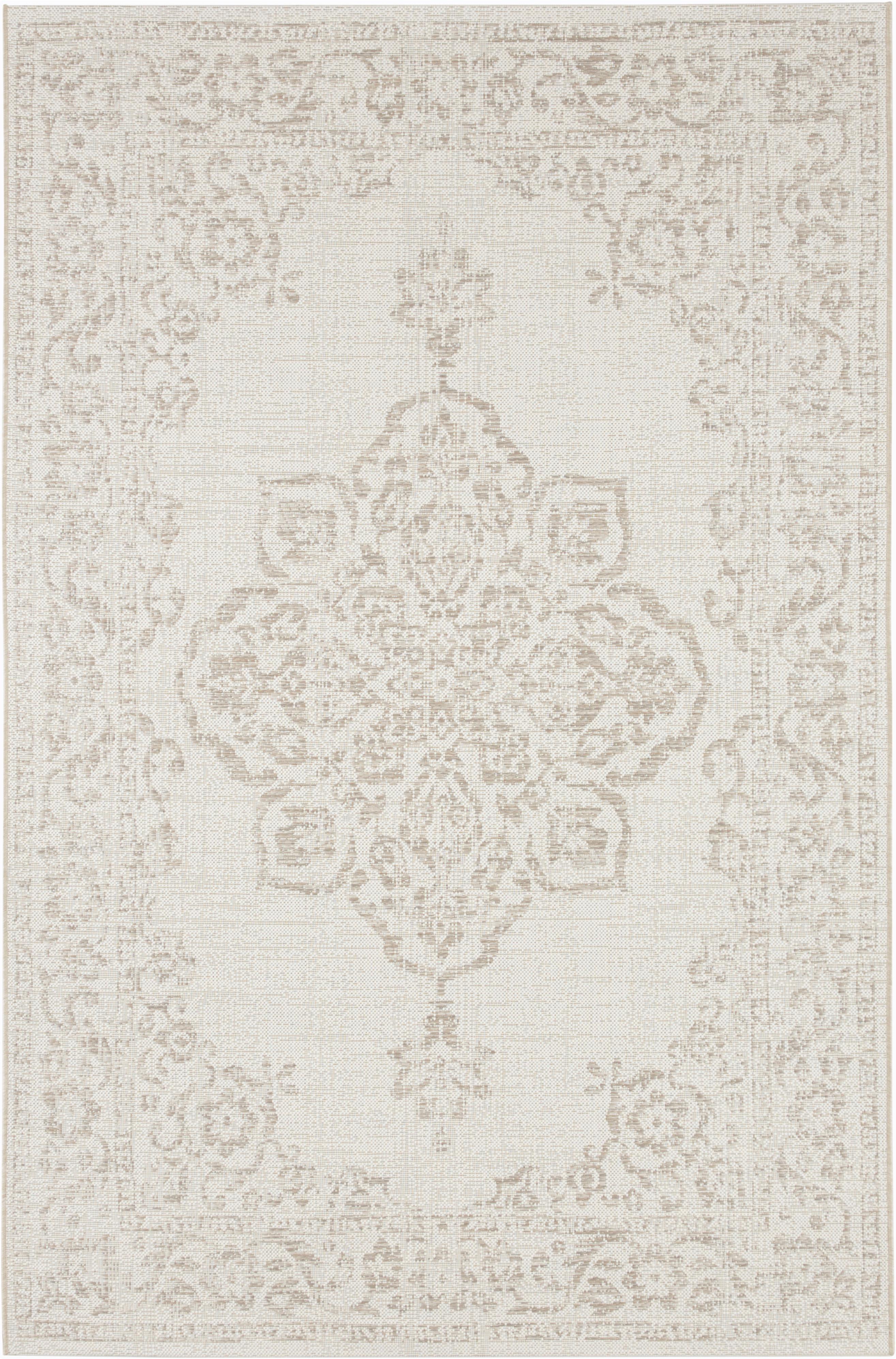 In- en outdoor vloerkleed Tilos in vintage look, Polypropyleen, Crèmekleurig, beige, B 120 x L 170 cm (maat S)