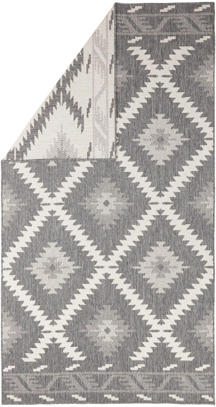 In- und Outdoor-Wendeteppich Malibu in Grau/Creme, Grau, Creme, B 80 x L 150 cm (Größe XS)
