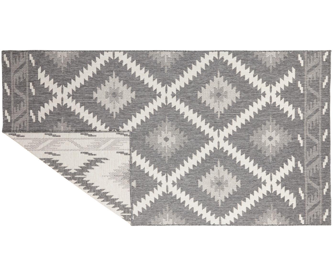 Dubbelzijdig in- en outdoor vloerkleed Malibu in grijs/crèmekleur, Grijs, crèmekleurig, B 80 x L 150 cm (maat XS)
