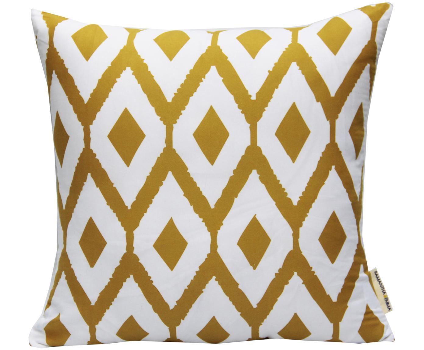 Poszewka na poduszkę Barbara, Poliester, Biały, żółty, S 40 x D 40 cm