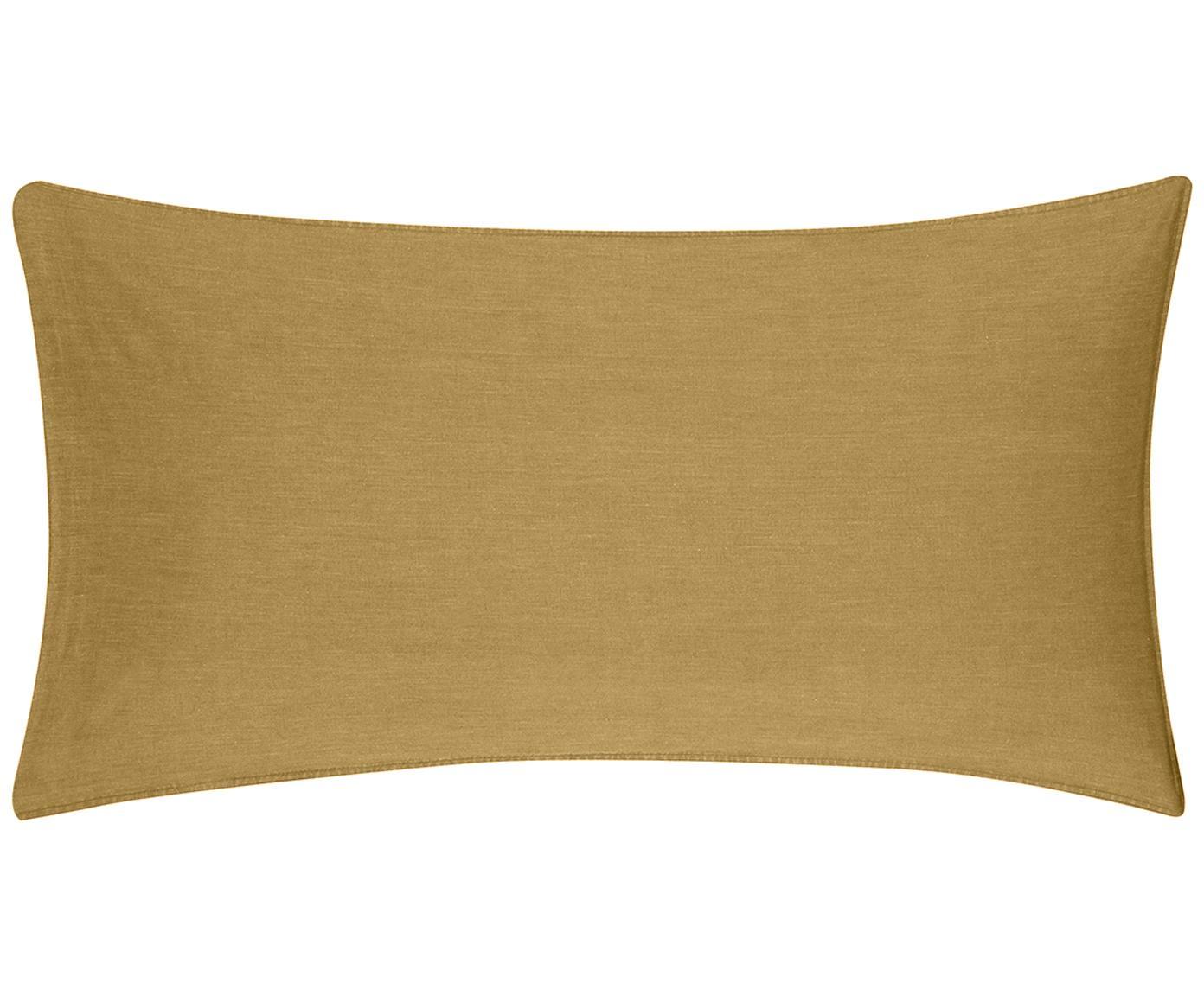 Gewaschene Baumwoll-Kissenbezüge Arlene in Gelb, 2 Stück, Webart: Renforcé Fadendichte 144 , Gelb, 40 x 80 cm