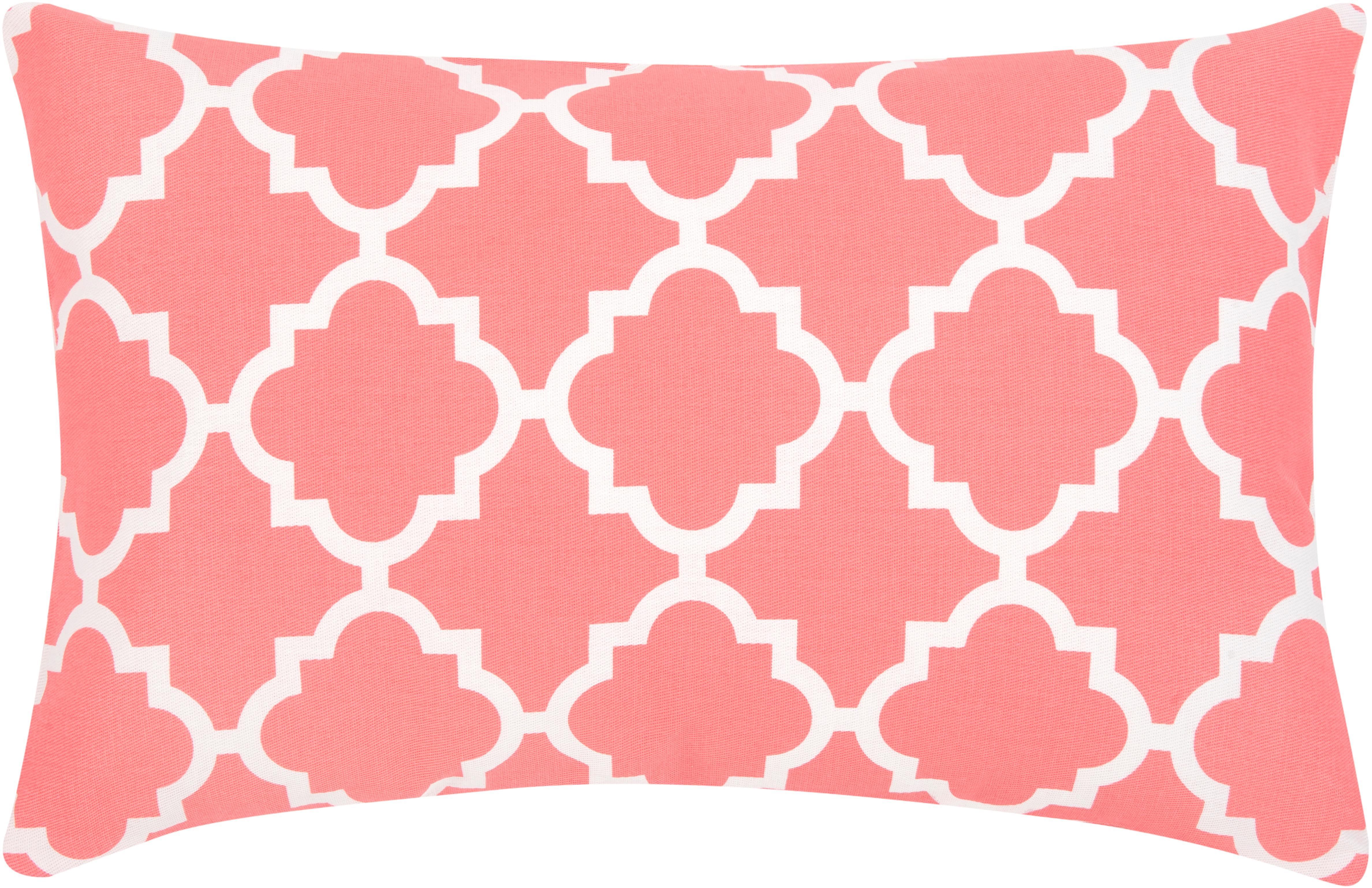 Kissenhülle Lana mit grafischem Muster, Baumwolle, Korallfarben, Weiß, 30 x 50 cm