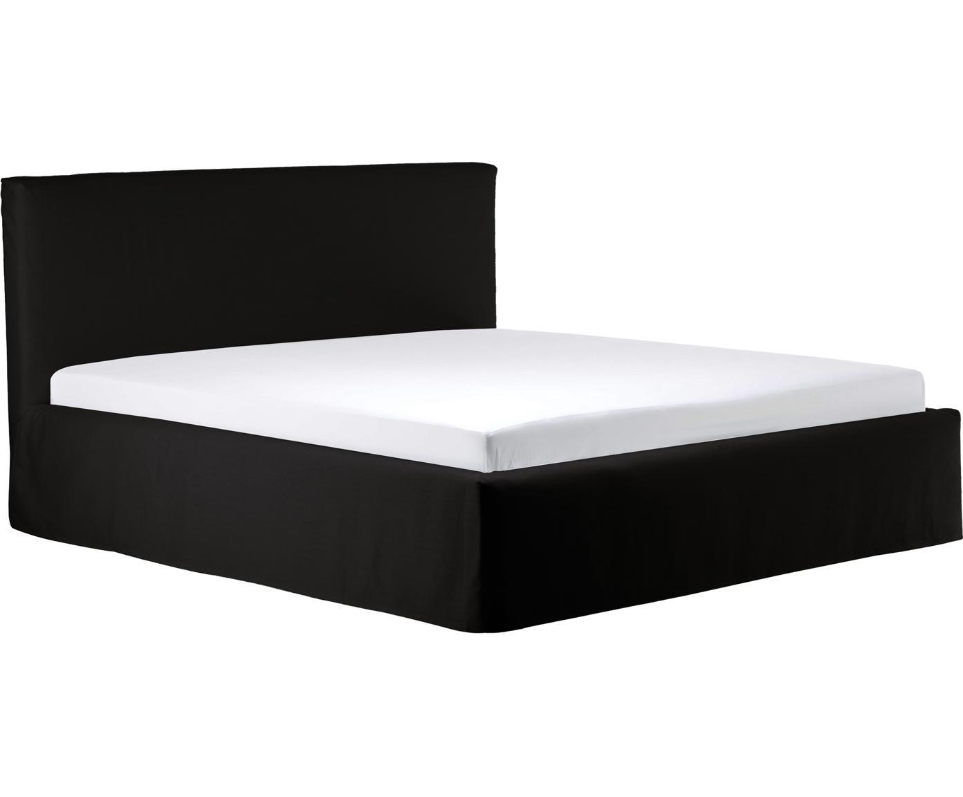 Łóżko tapicerowane ze schowkiem Feather, Korpus: lite drewno sosnowe, Tapicerka: poliester (materiał tekst, Antracytowy, 140 x 200 cm