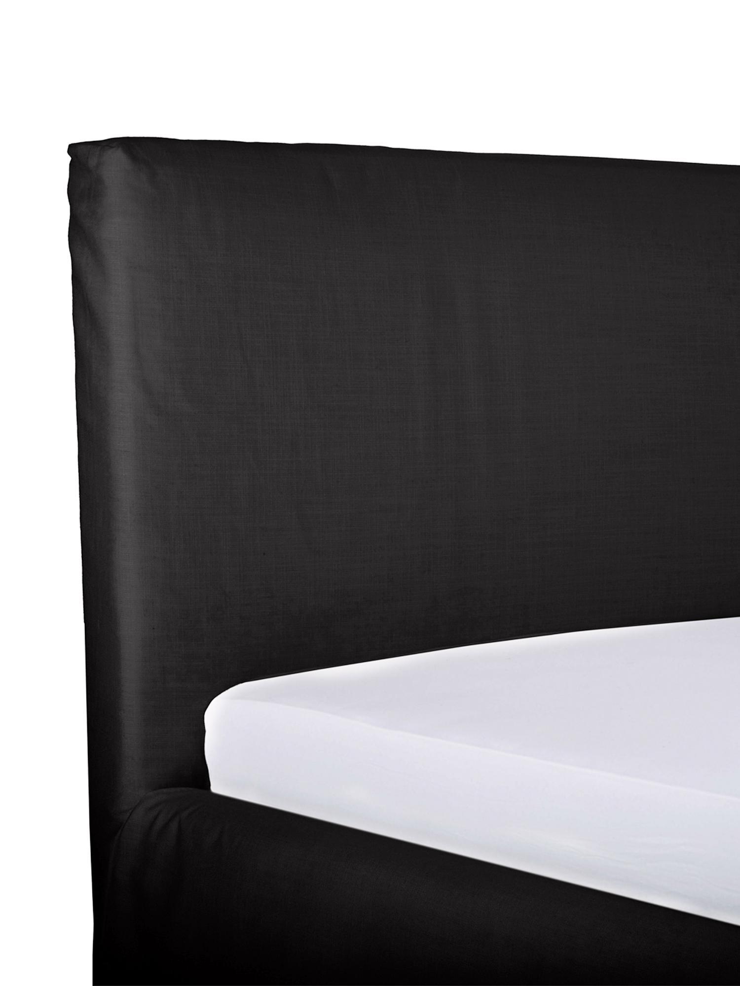 Polsterbett Feather mit Stauraum, Korpus: Massives Kiefernholz, Bezug: Polyester (Strukturstoff), Webstoff Anthrazit, 180 x 200 cm
