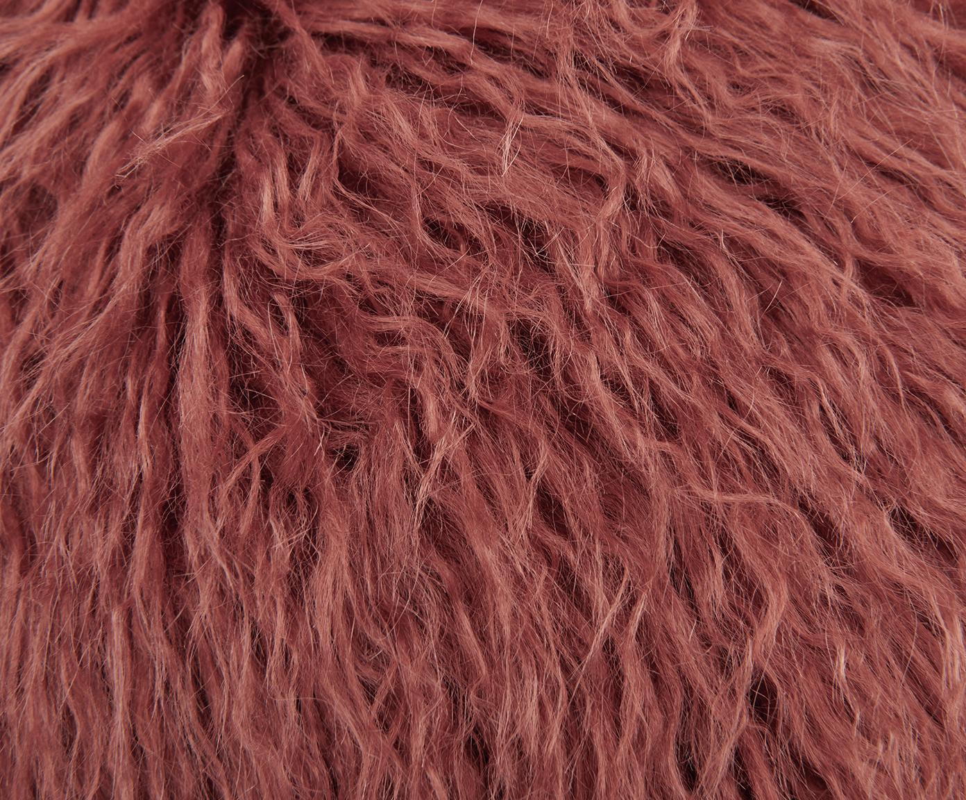 Flauschige Kunstfell-Kissenhülle Morten, gelockt, Vorderseite: 67% Akryl, 33% Polyester, Rückseite: 100% Polyester, Terrakotta, 40 x 40 cm