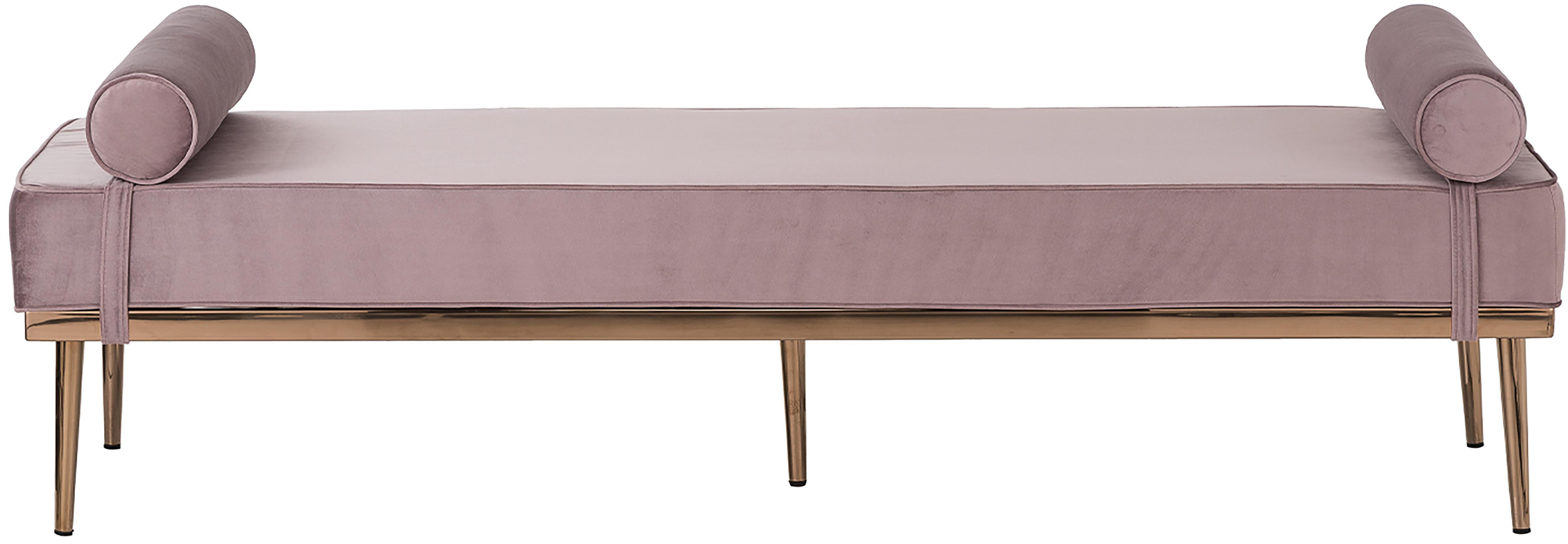 Łóżko dzienne z aksamitu Aurora, Tapicerka: aksamit (wysokiej jakości, Nogi: metal powlekany, Aksamitny mauve, S 180 x W 42 cm